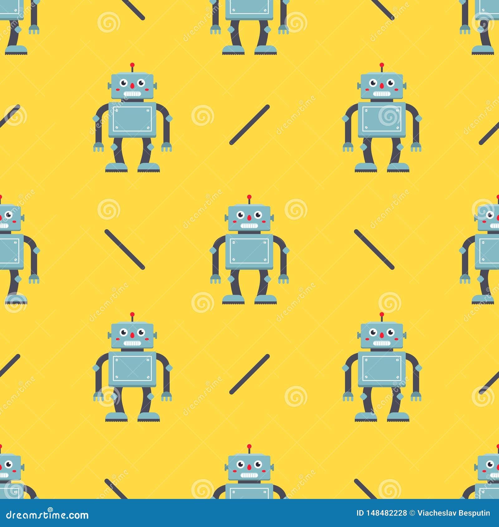 Gullig robotmodell p? en gul bakgrund barns tecken f?r tyg