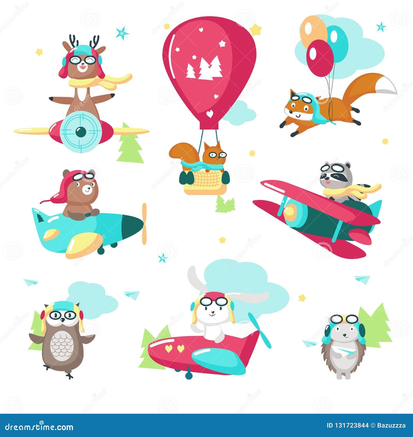 Gullig rolig pilot- isolerad illustration för djur vektor