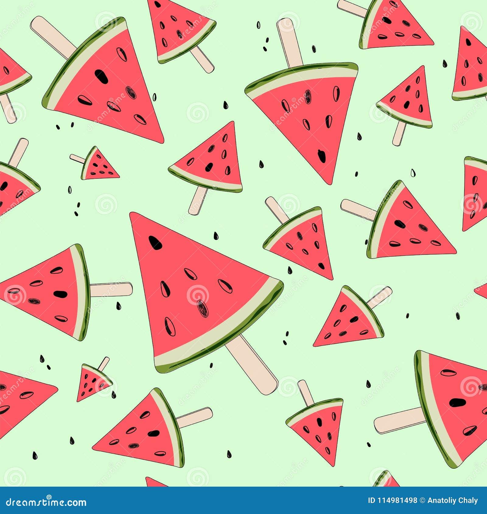 Gullig sömlös bakgrund med vattenmelonskivor Vattenmelon på en pinne unga vuxen människa vektor
