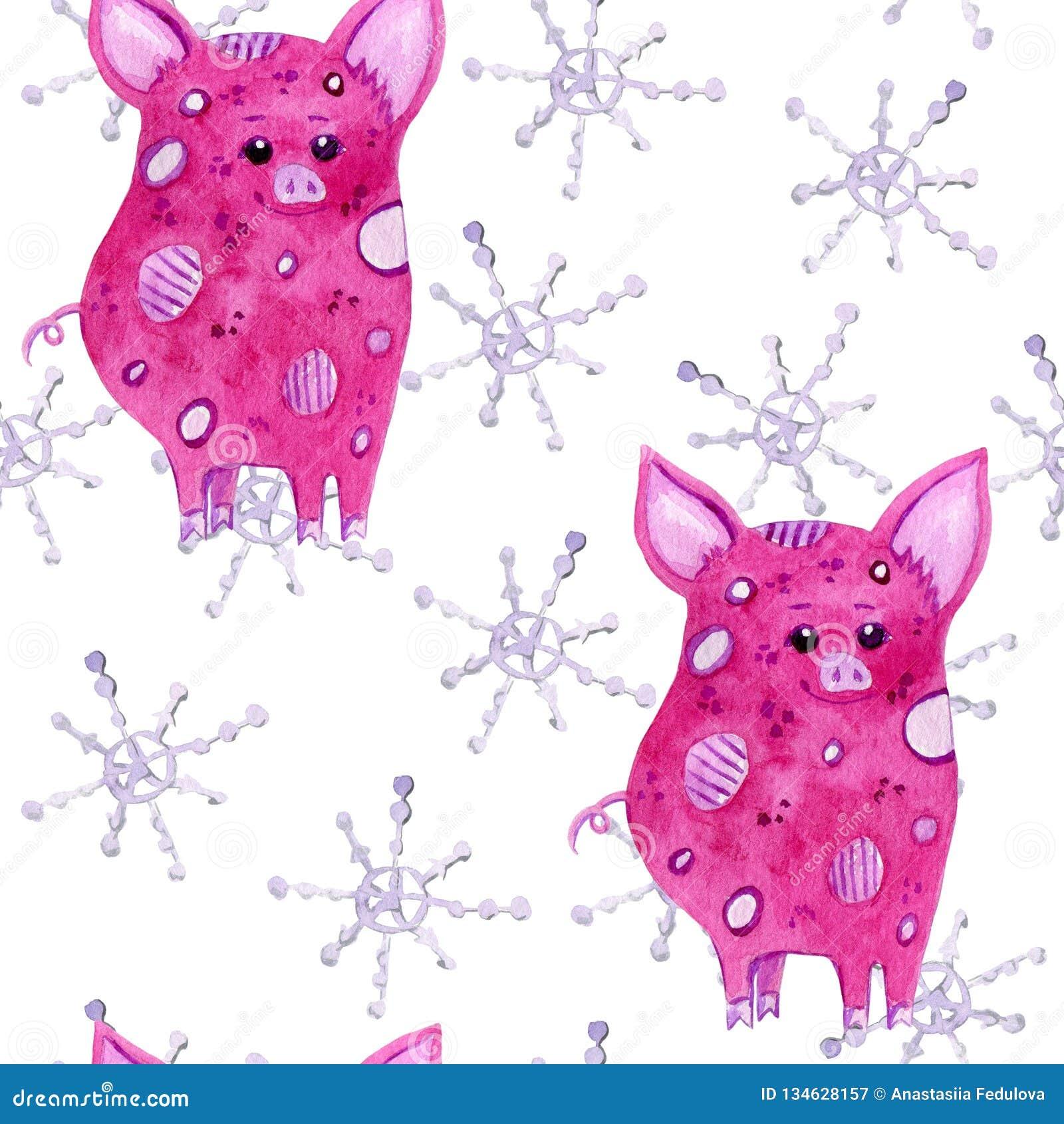 Gullig sömlös modell för svin- och snöflingavattenfärg på vit bakgrund