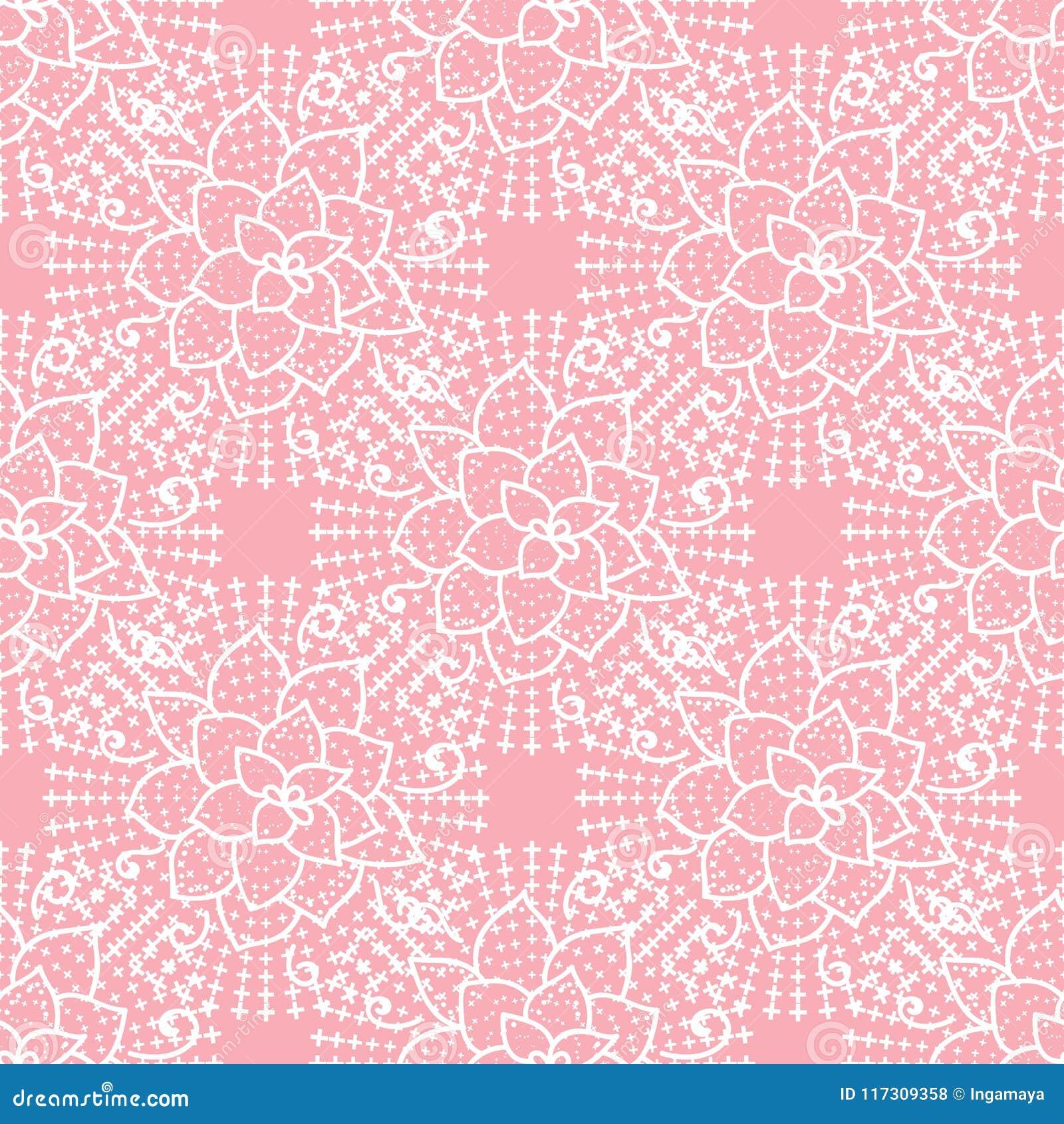 Gullig sömlös modell för vektor Handen som drar den vita blomman, snör åt på rosa bakgrund