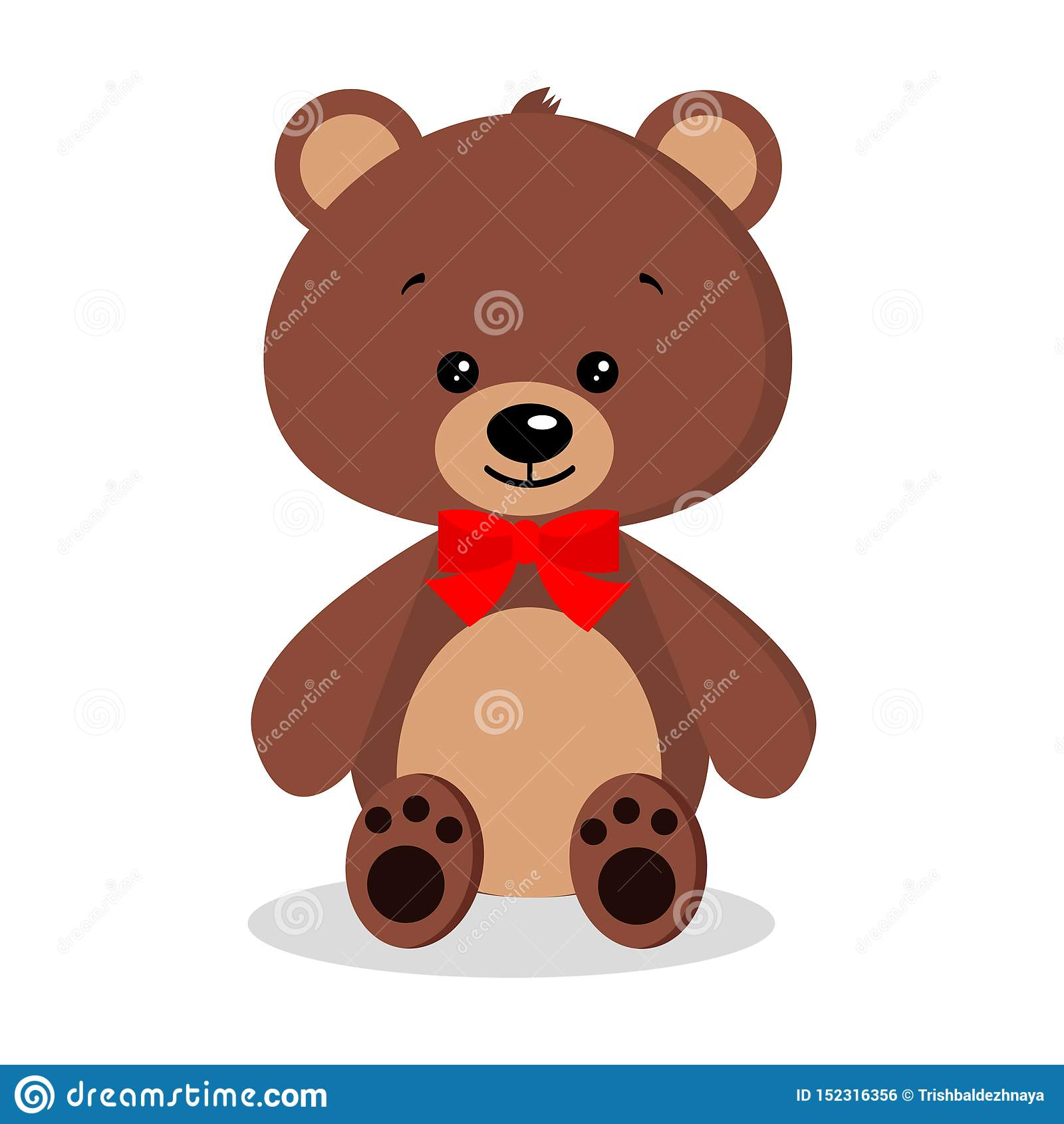 Gullig, söt, romantisk och festlig brun nallebjörn för isolerad tecknad film