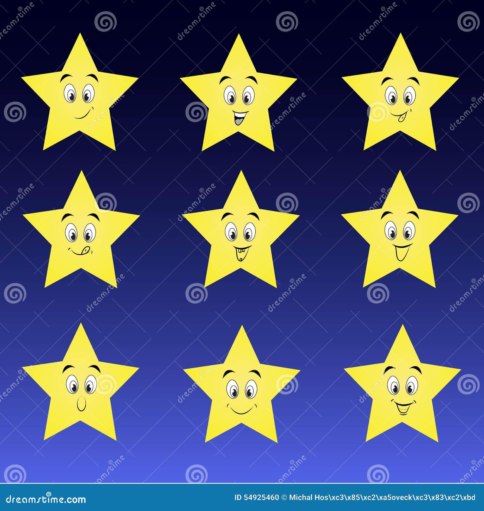 Gullig samling av stjärnor med lyckliga smileys