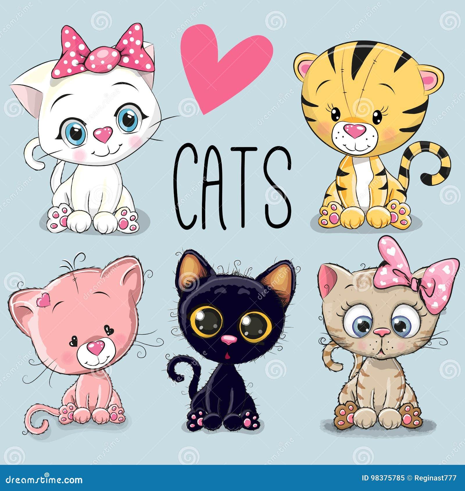 Gullig set för katter