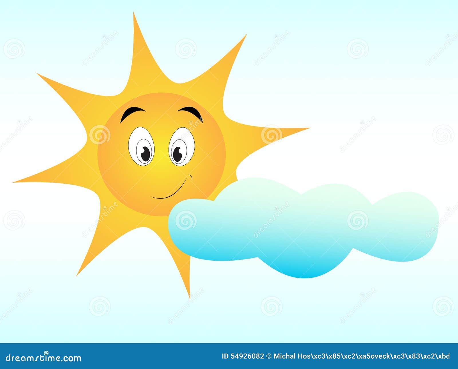Gullig sol med den lyckliga framsidan med molnet på det vita brädet