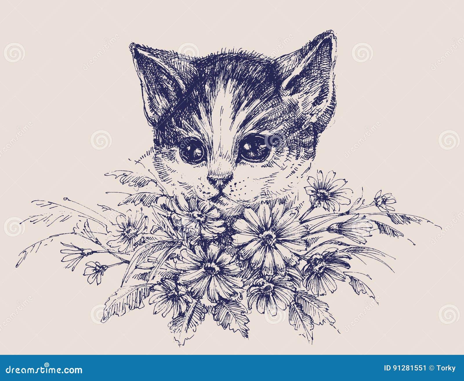 Gullig stående för katt