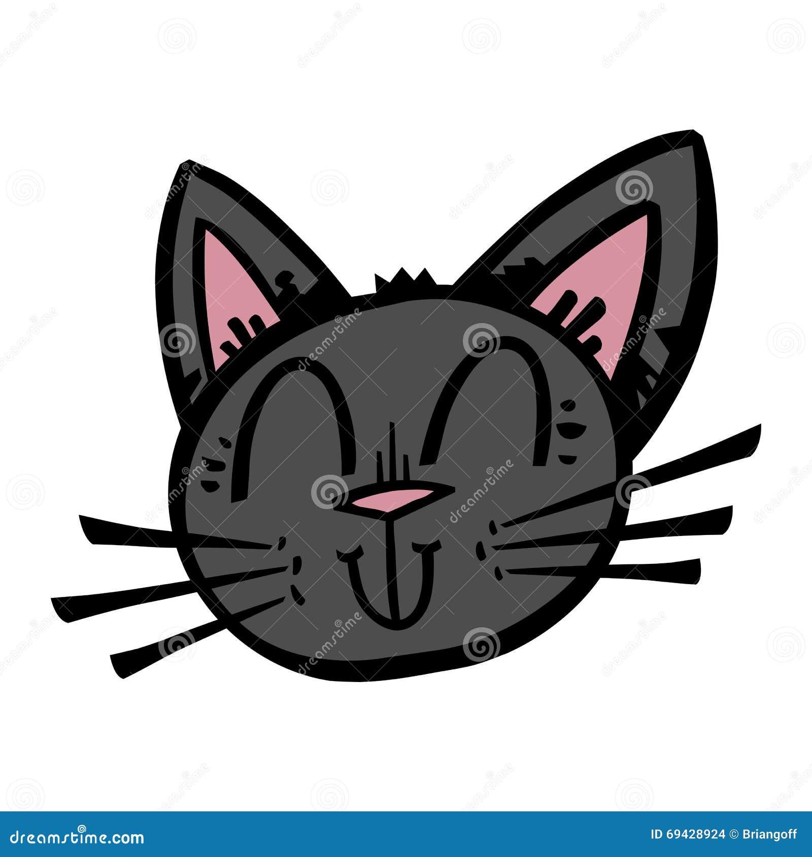 Gullig tecknad film för svart katt