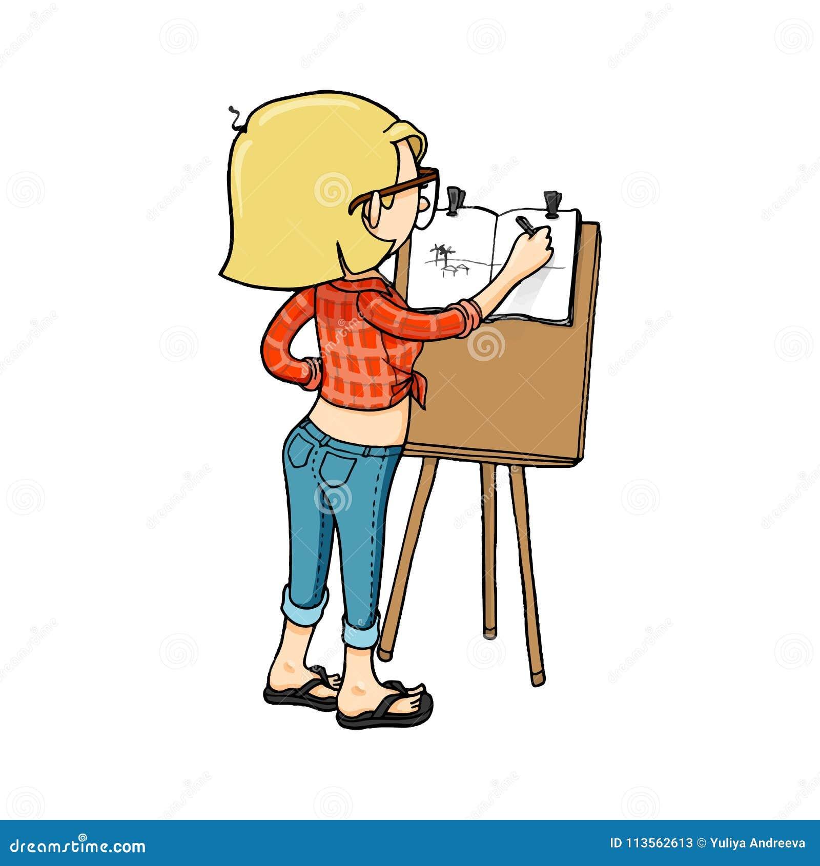 Gullig tecknad filmflicka som skissar med staffli och sketchbooken Vektor isolerat hand dragit tecken