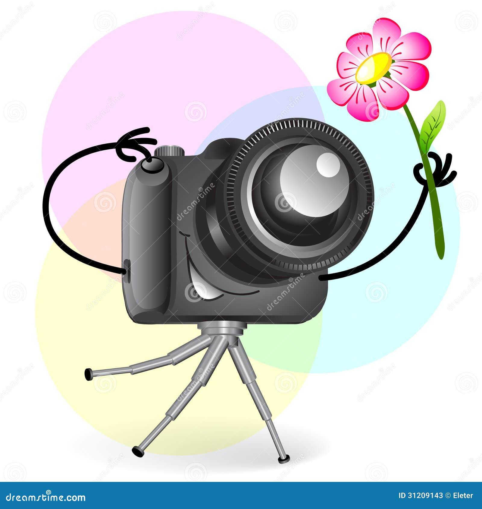 gullig tecknad filmkamera med blomman vektor illustrationer illustration av cartoon zoom. Black Bedroom Furniture Sets. Home Design Ideas
