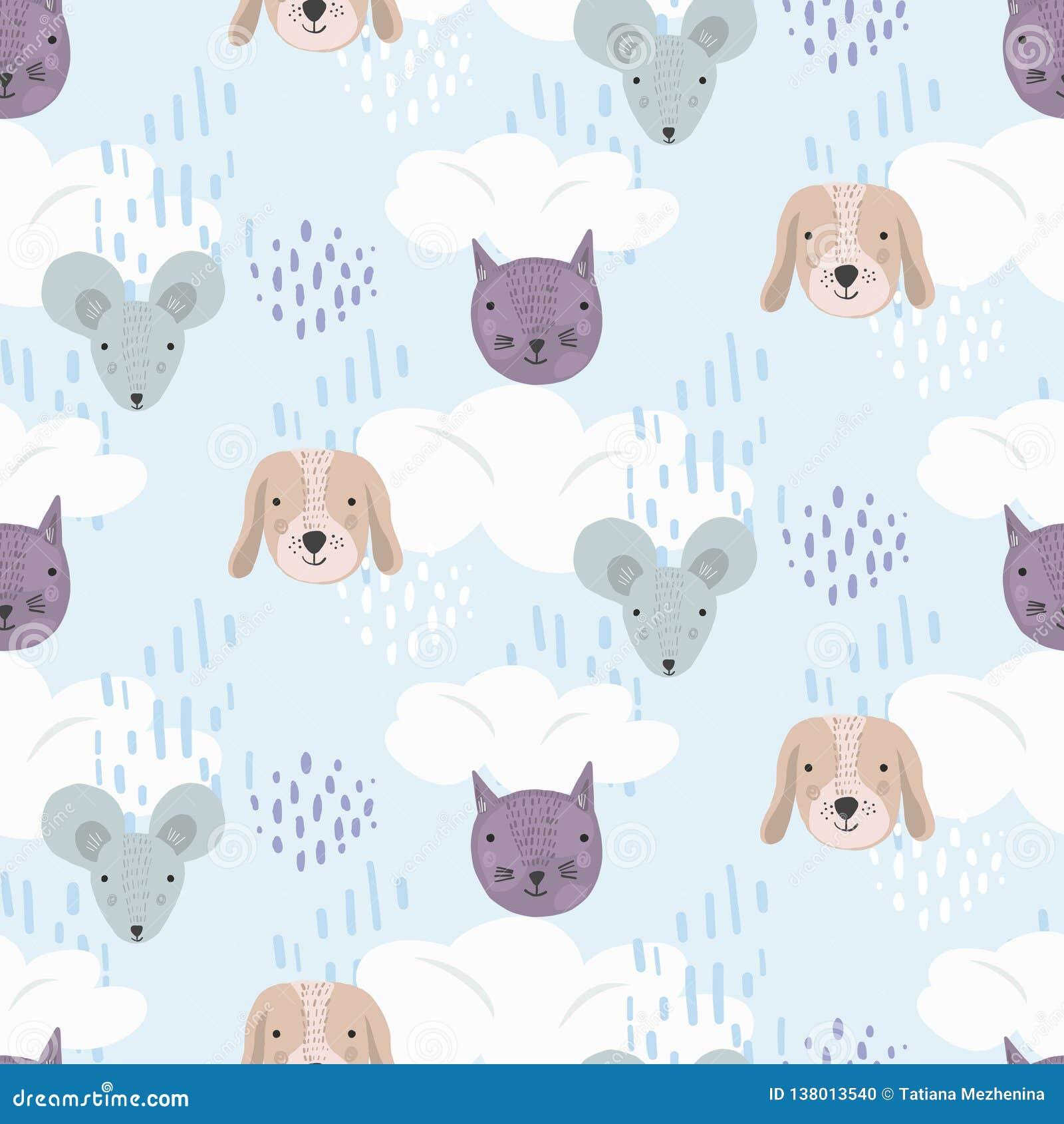 Gullig tecknad filmmodell med katter, hundkapplöpning och möss