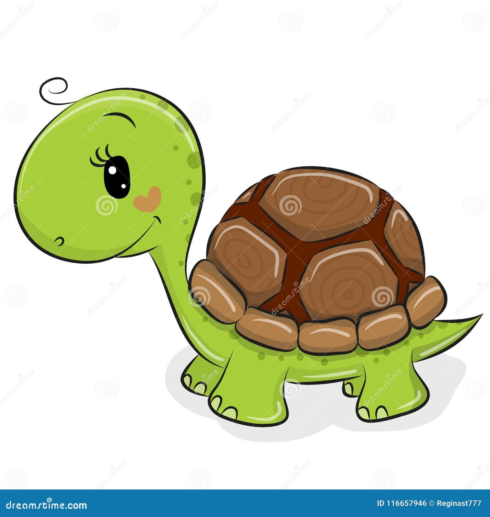 Gullig tecknad filmsköldpadda på en vit bakgrund