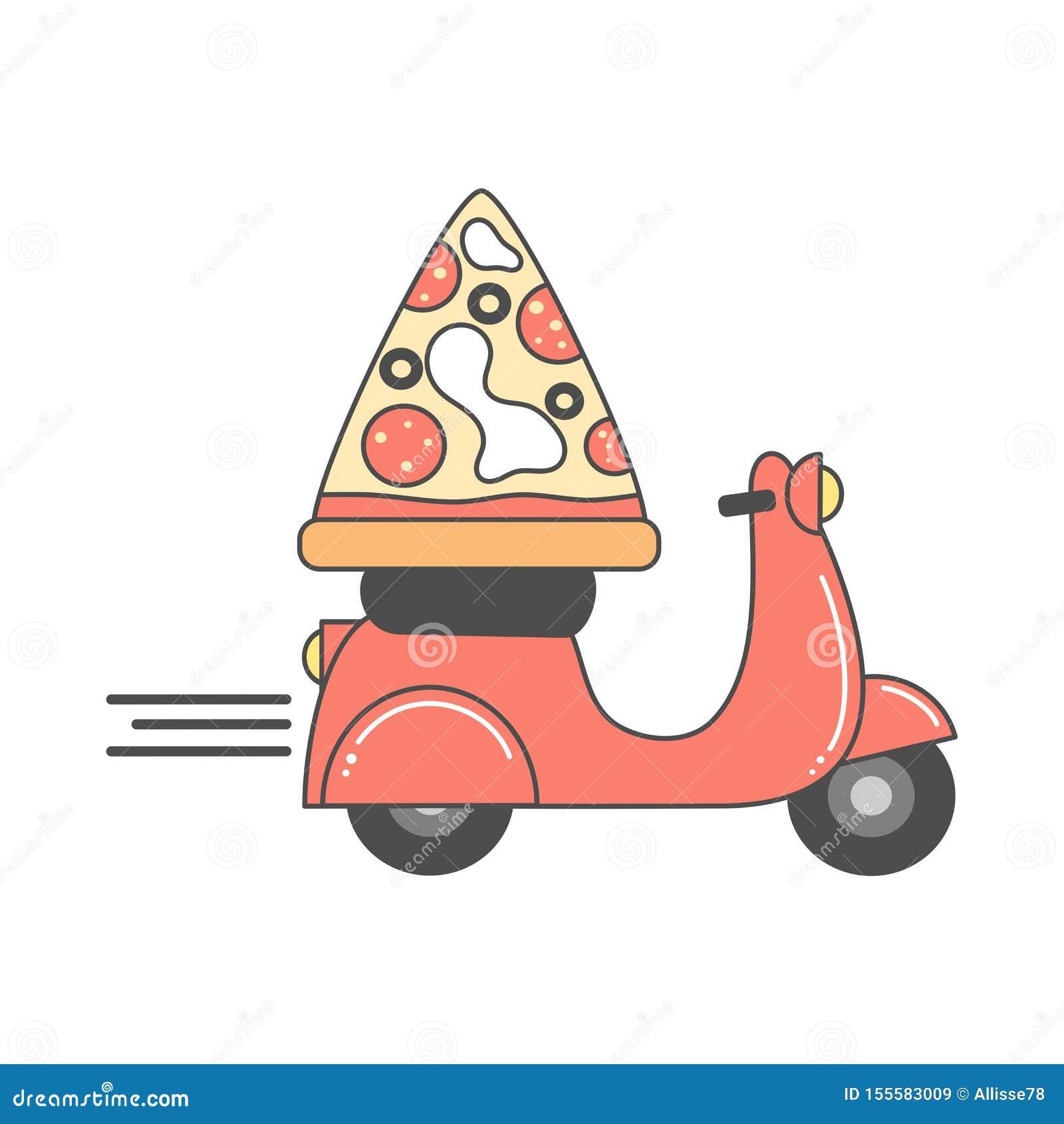 Gullig vektordesign för pizzaleveransen med motorcykel- och pizzaskivan