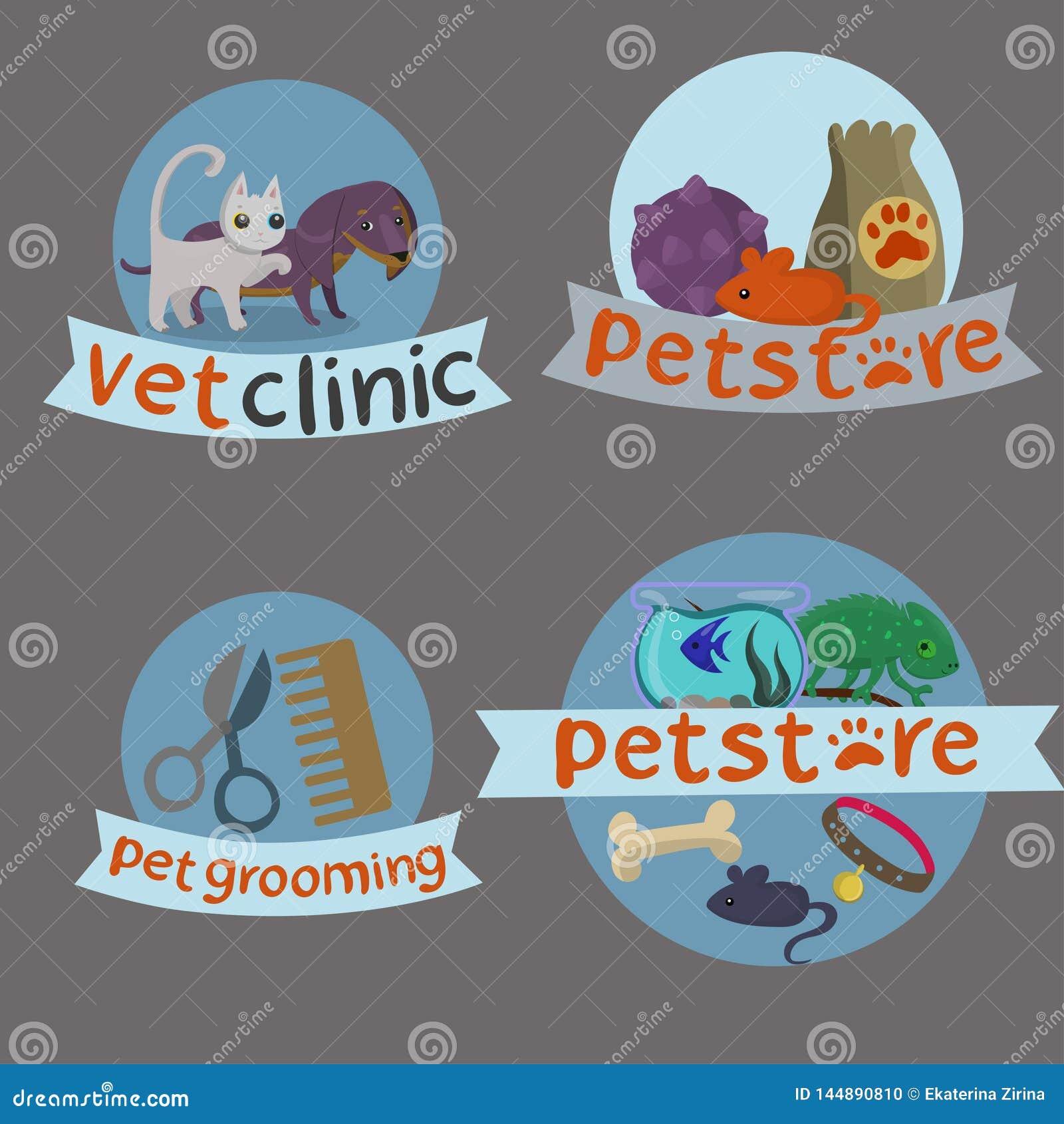 Gullig veterinärsymbolsuppsättning Utdragna symboler för hand av husdjur