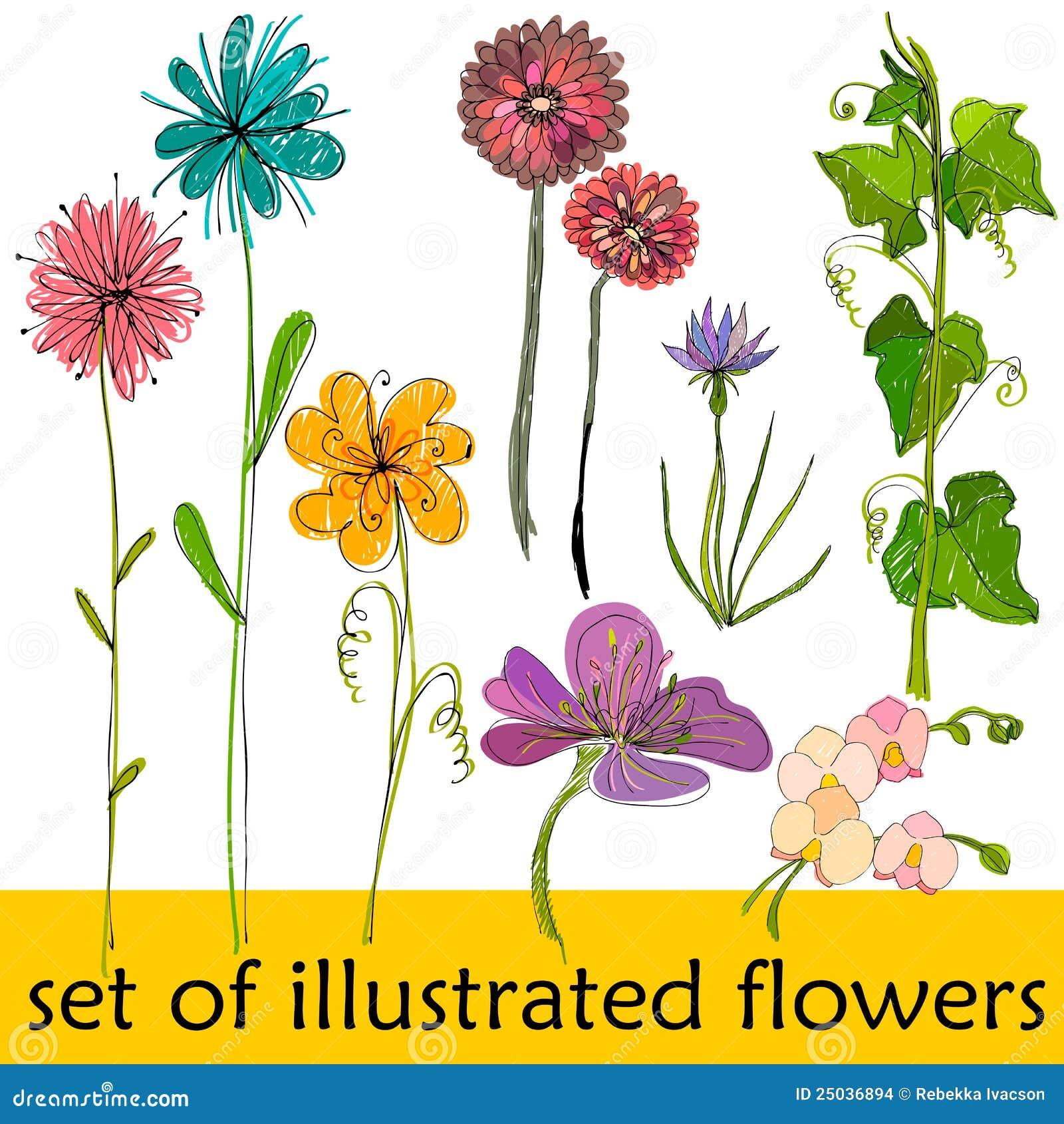 Gulliga blommor illustrerad set