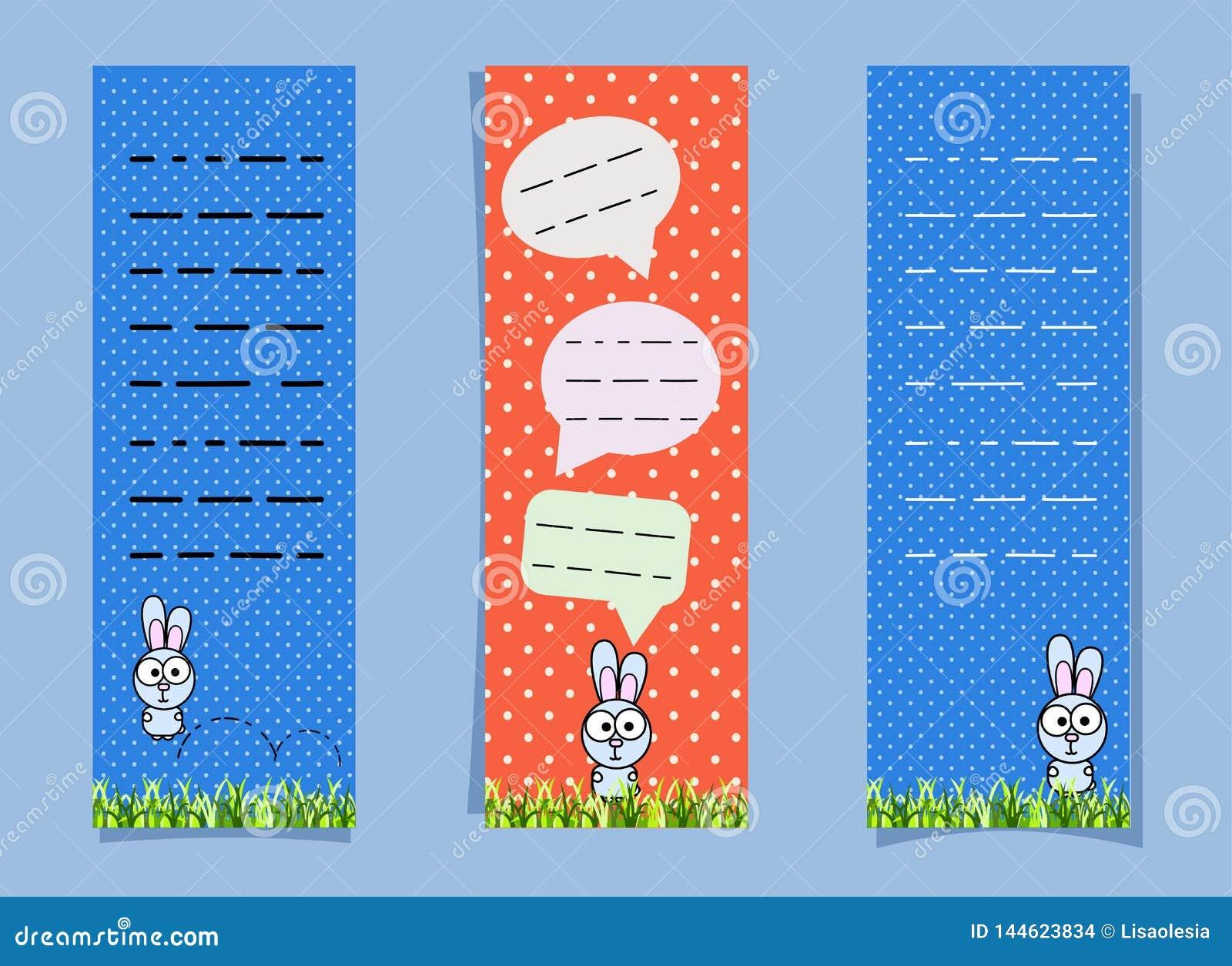 Gulliga bokmärker med kaninen och pratsamma bubblor vertikala baner Kaninbanhoppning på gräset rolig hare för anteckningsböcker