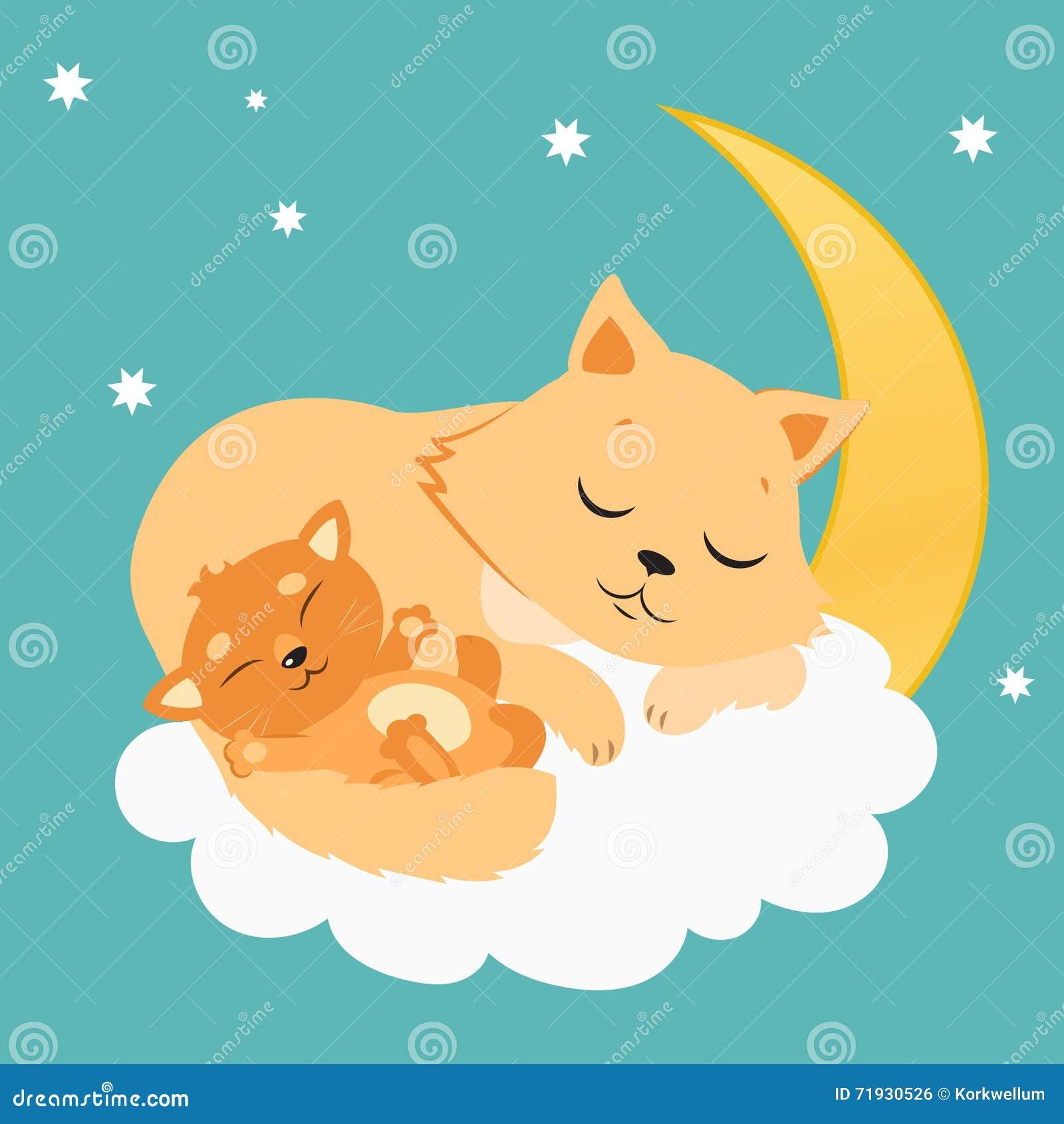 Gulliga Cat And Kitten Sleeping On månen Söta Kitty Cartoon Vector Card