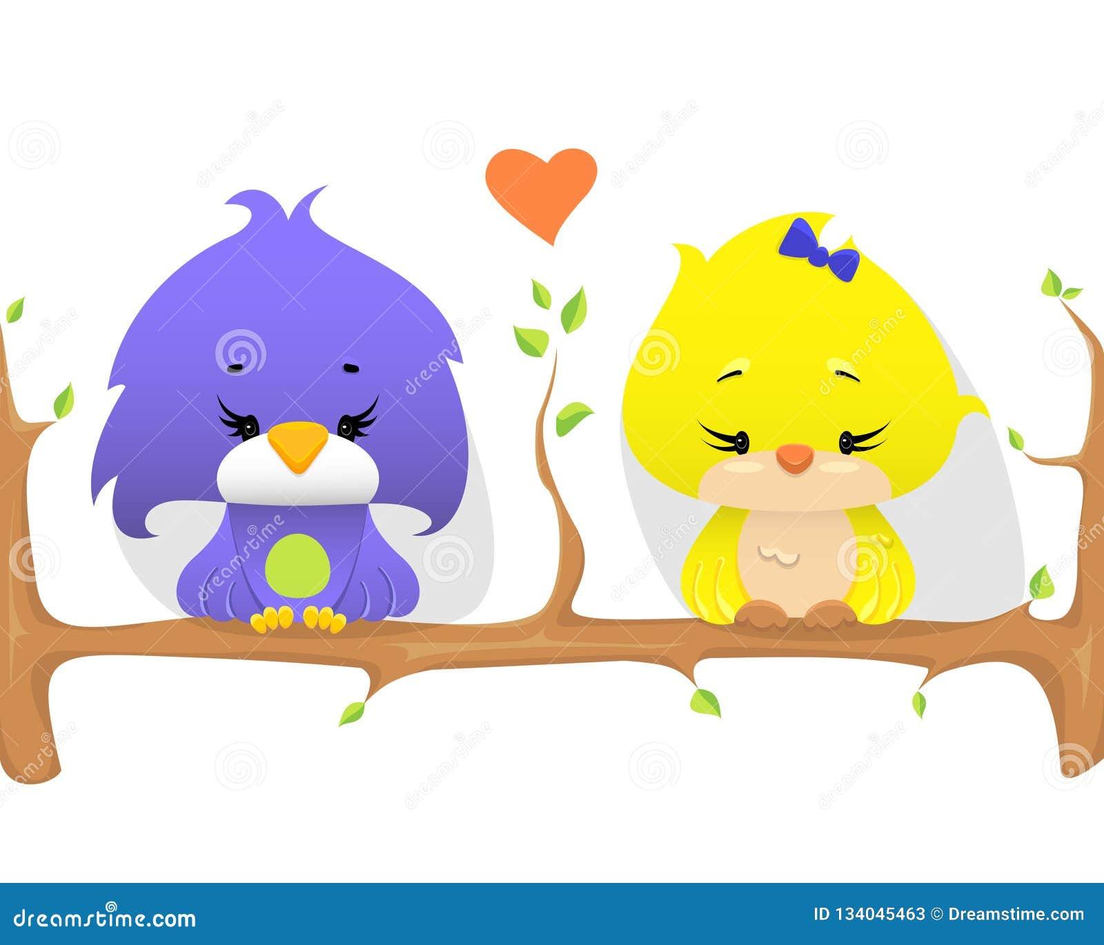 Gulliga fåglar på en filial med hjärtaform mellan, vektorillustration
