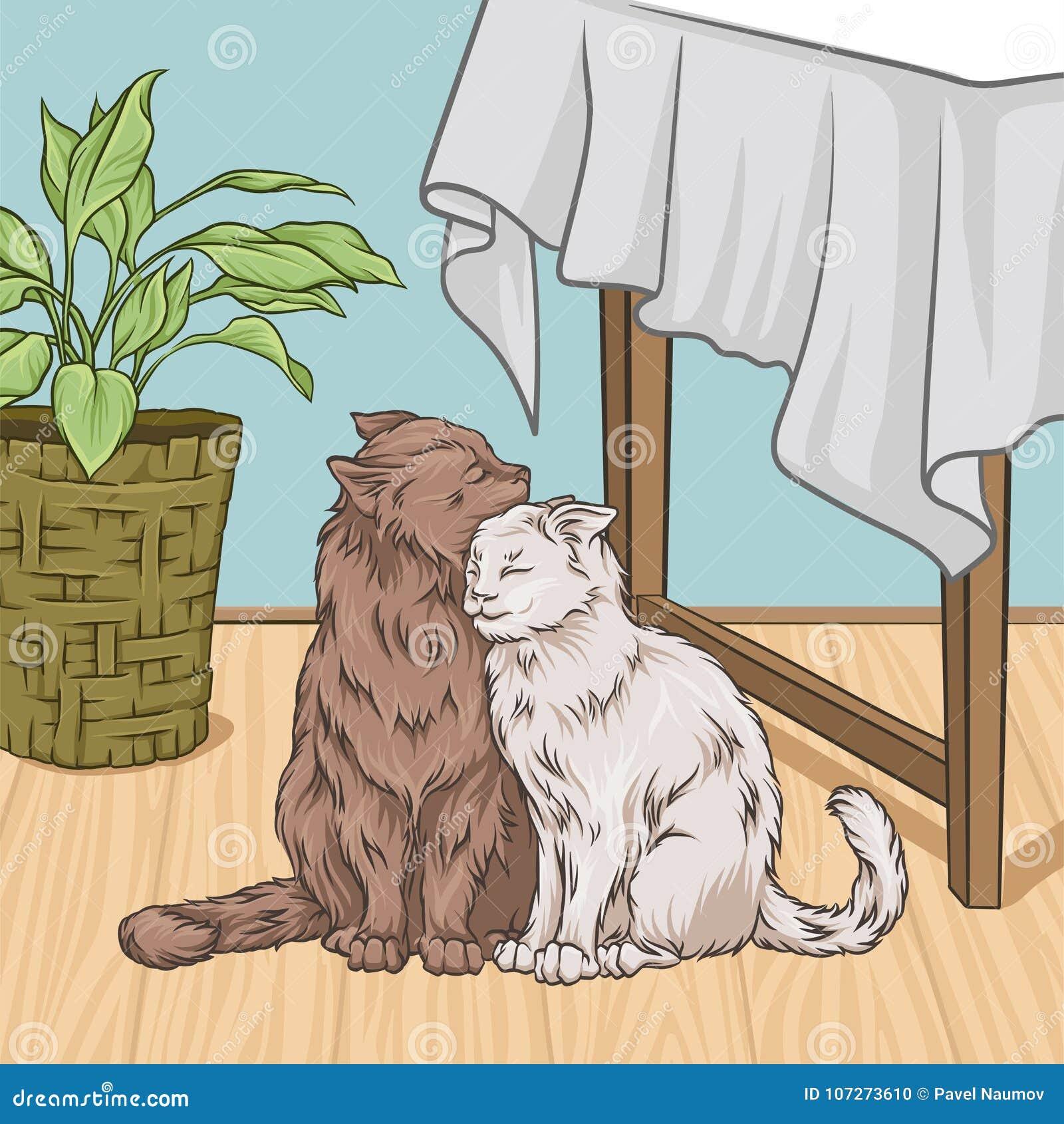 Gulliga katter som kramar, medan sitta bredvid en tabell, för tappningstil för rum inre illustration för vektor för hem