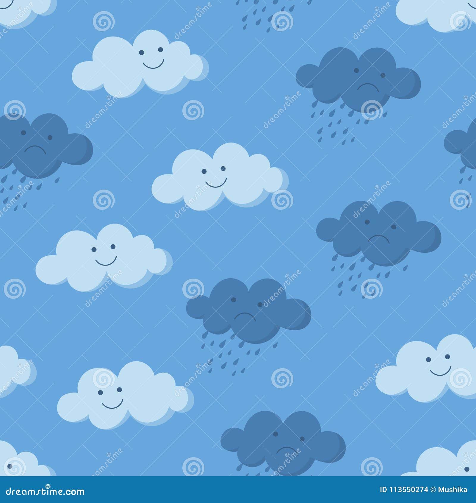Gulliga le och gråta regniga moln i den sömlösa modellen för himmel