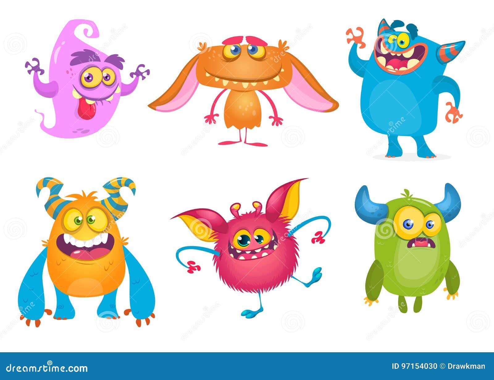 Gulliga monster för tecknad film Vektoruppsättning av tecknad filmmonster: spöken elaka trollet, den bigfoot snömannen, fiska med