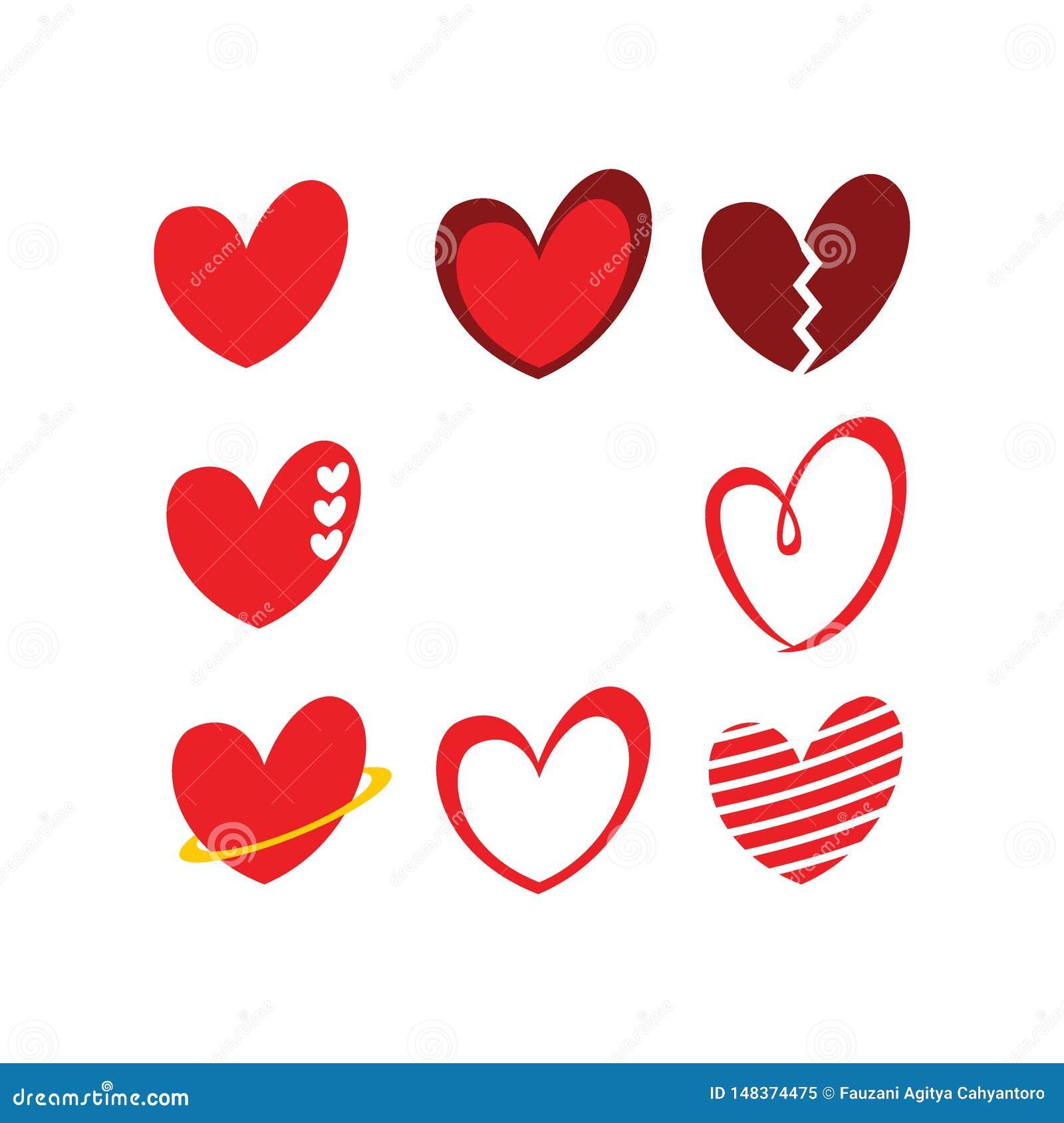 Gulliga packar för begrepp för logo för förälskelse-/hjärtasymbolstecken