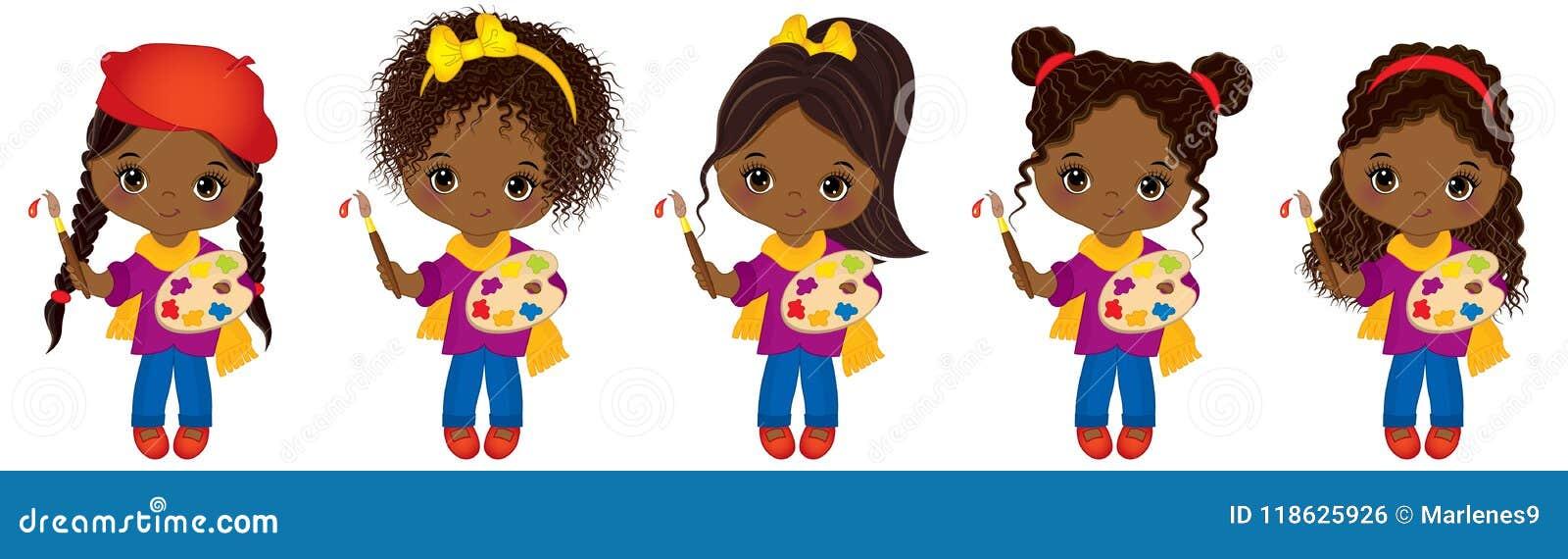 Gulliga små afrikansk amerikankonstnärer för vektor med paletter och flickor för afrikansk amerikan för vektor för målarfärgborst
