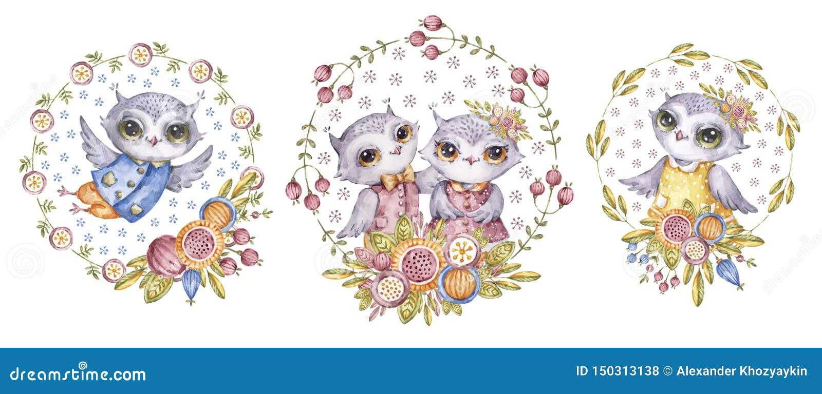 Gulliga vattenfärgfilins och blommor, barnslig uppsättning
