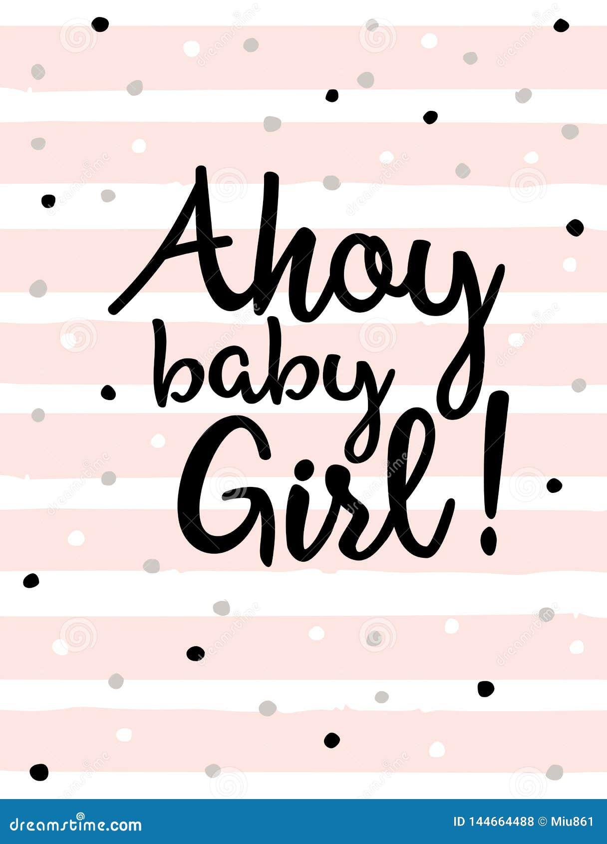 Gulligt baby showervektorkort Ahoy att behandla som ett barn flickan Marine Party Theme