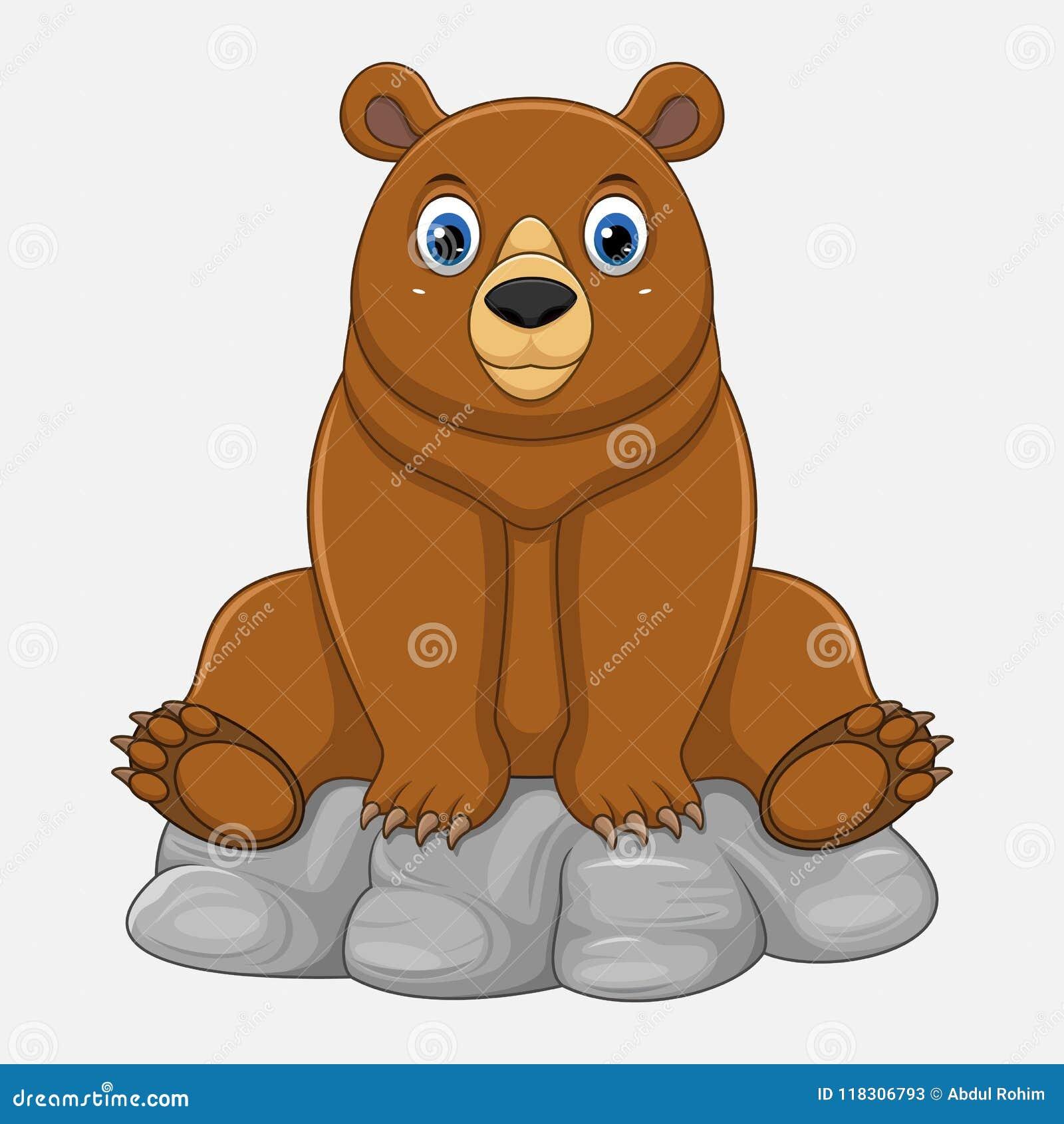 Gulligt behandla som ett barn björnen, tecknad film somsammanträde vaggar på