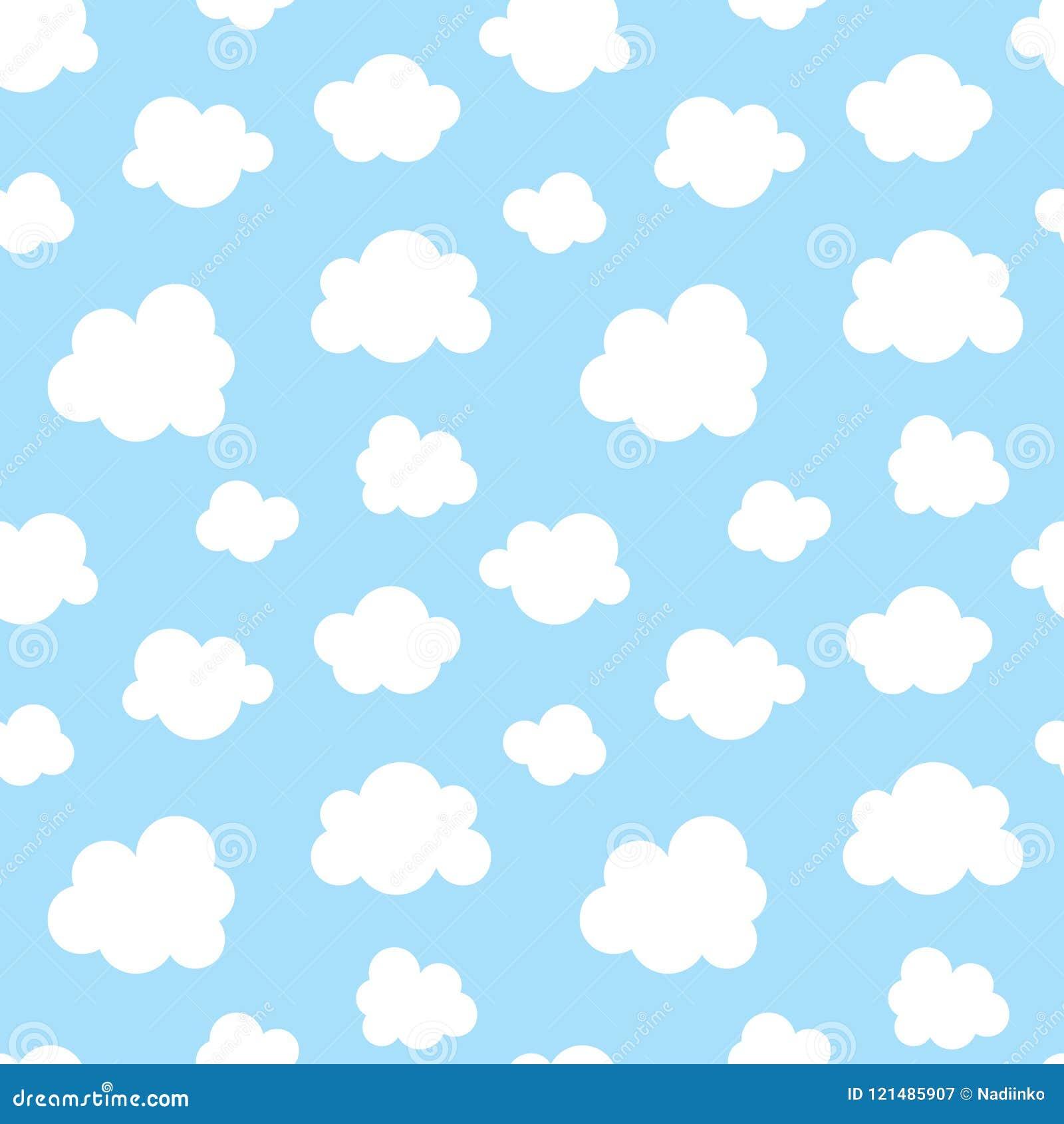 Gulligt behandla som ett barn den sömlösa modellen med blå himmel med plana symboler för vita moln Fördunkla symbolbakgrund för u