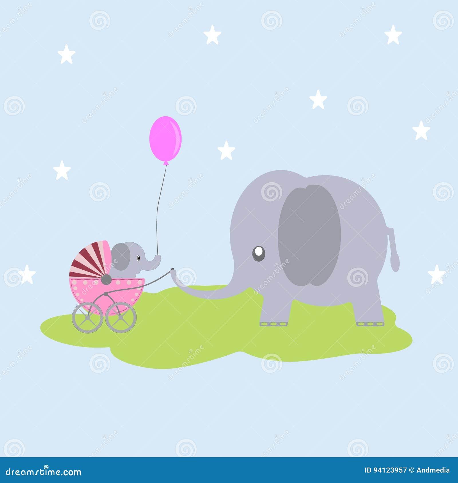 Gulligt behandla som ett barn elefanten i en vagn