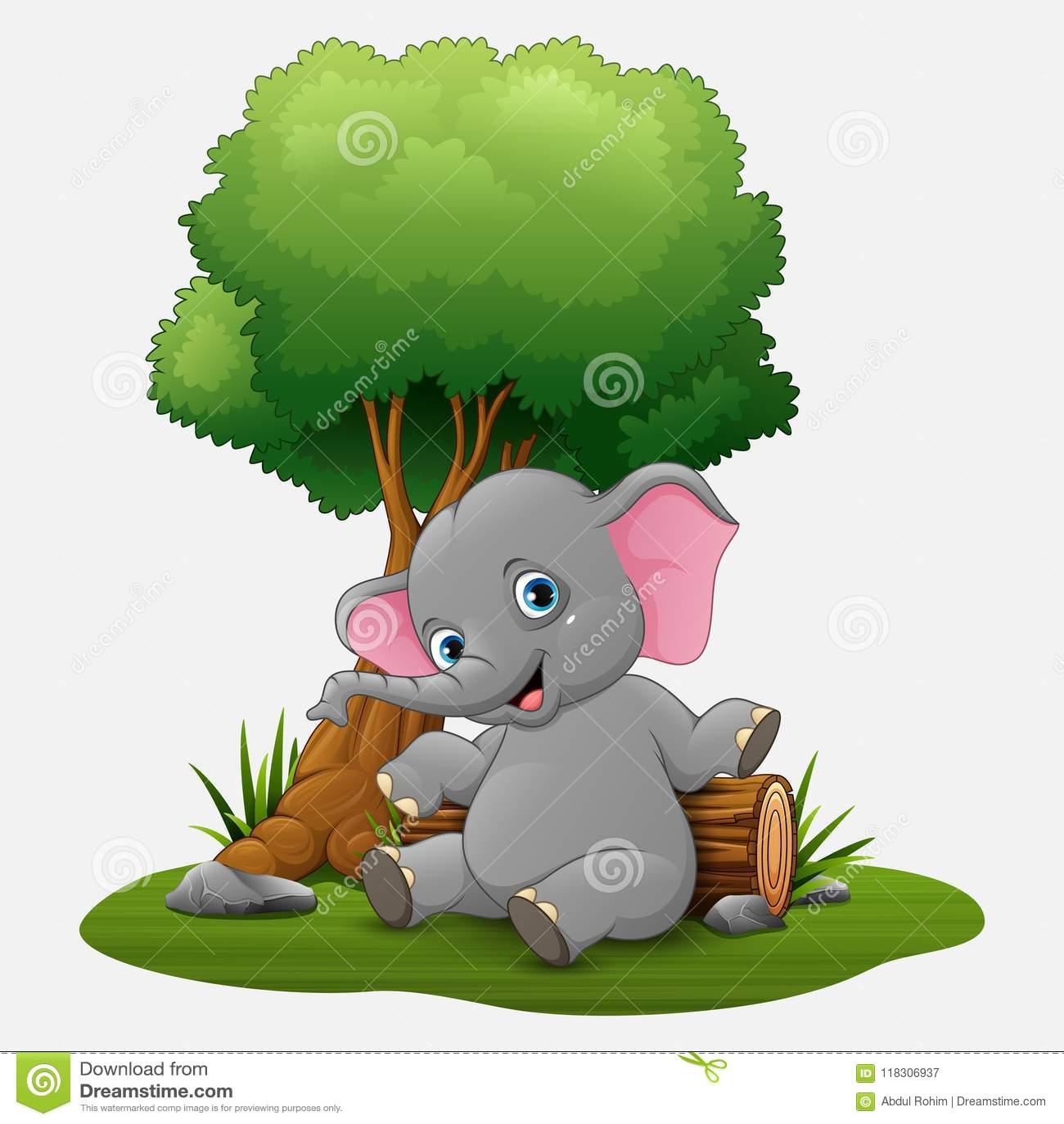 Gulligt behandla som ett barn elefantsammanträde under träd