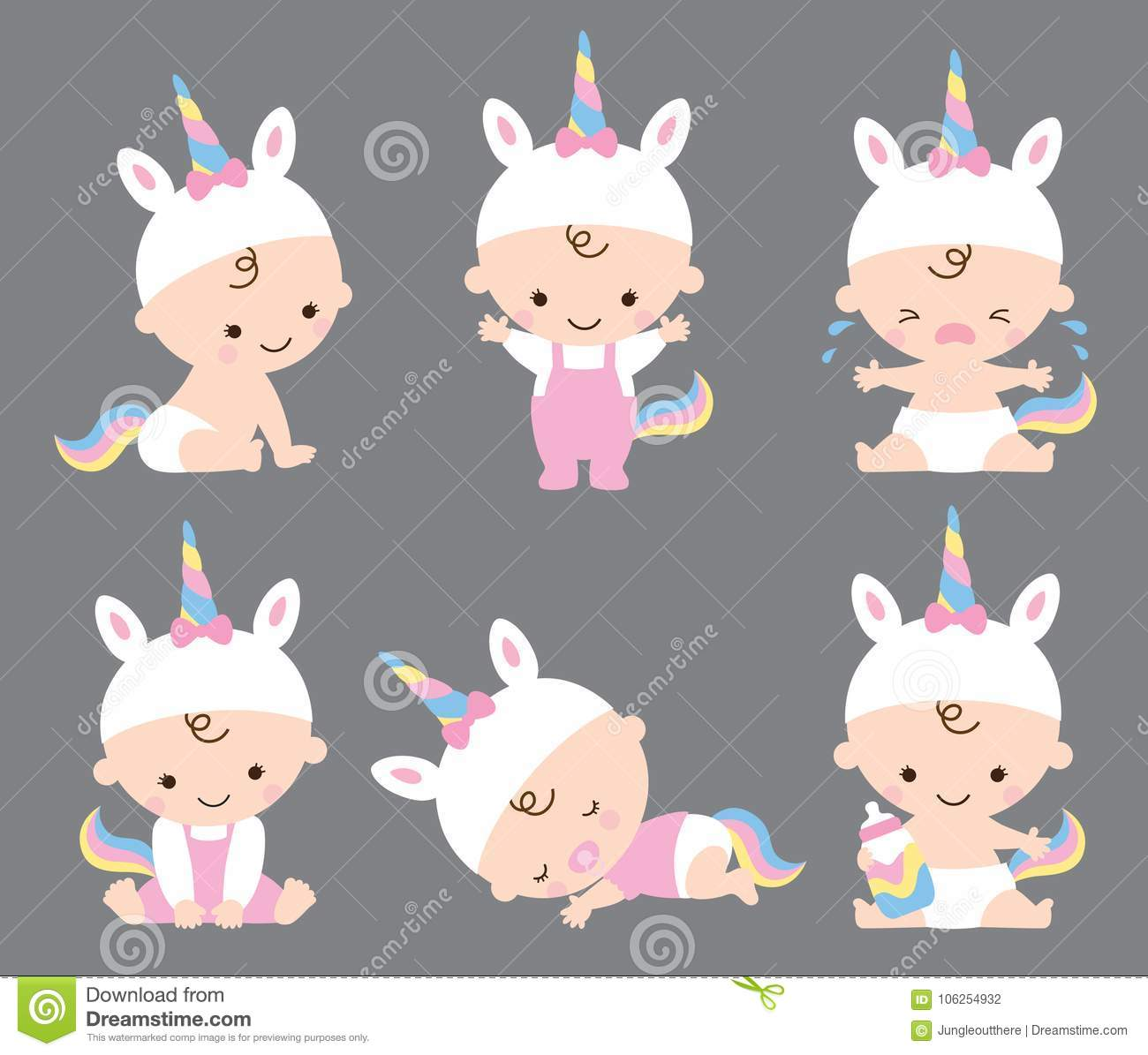 Gulligt behandla som ett barn flickan Unicorn Costume Vector Illustration