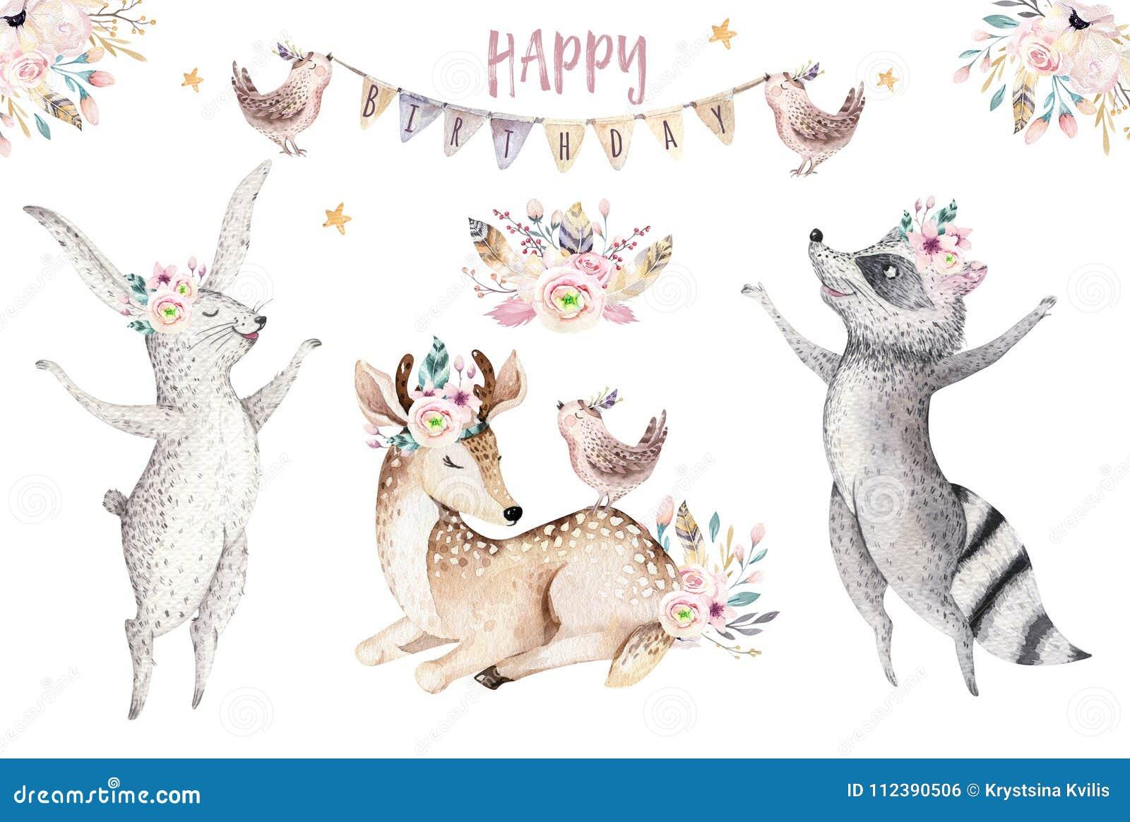 Gulligt behandla som ett barn giraffet, den djura barnkammaremusen för hjortar och björnen isolerade illustrationen för barn Teck