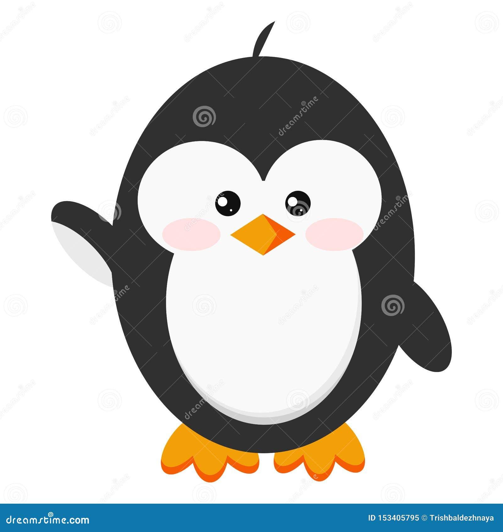 Gulligt behandla som ett barn pingvinet som symbolen, i att stå hi, poserar isolerat på vit bakgrund