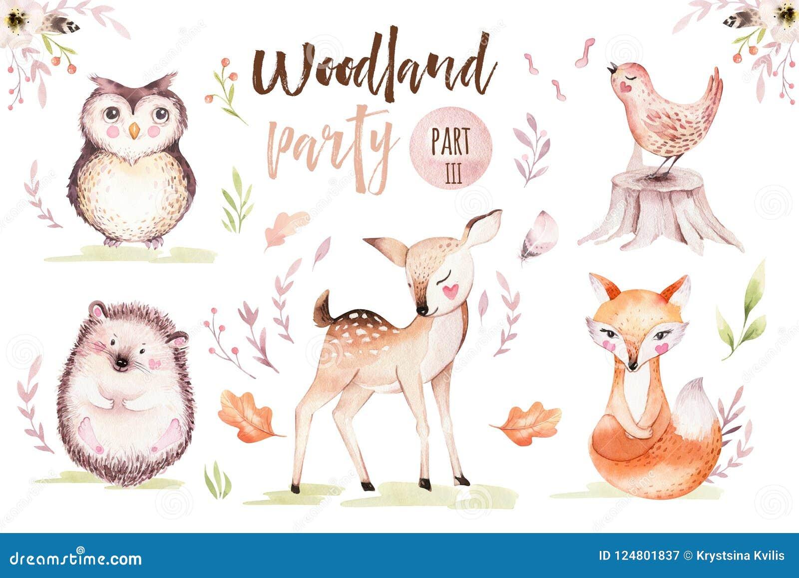 Gulligt behandla som ett barn räven, den djura barnkammarefågeln för hjortar och björnen isolerade illustrationen för barn Teckni