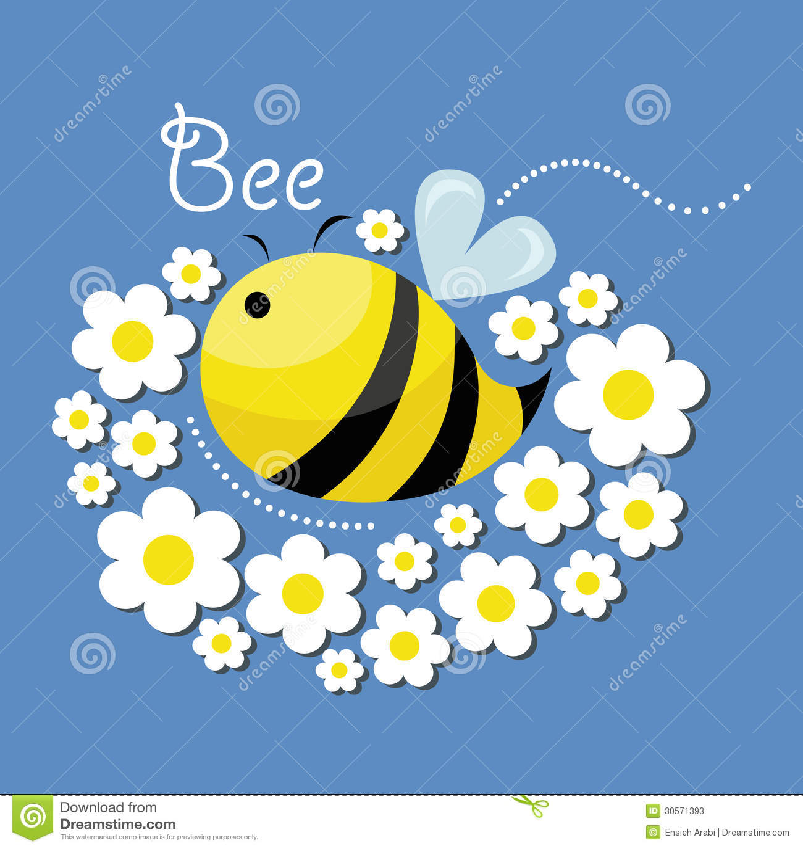 Gulligt bi och blommorna
