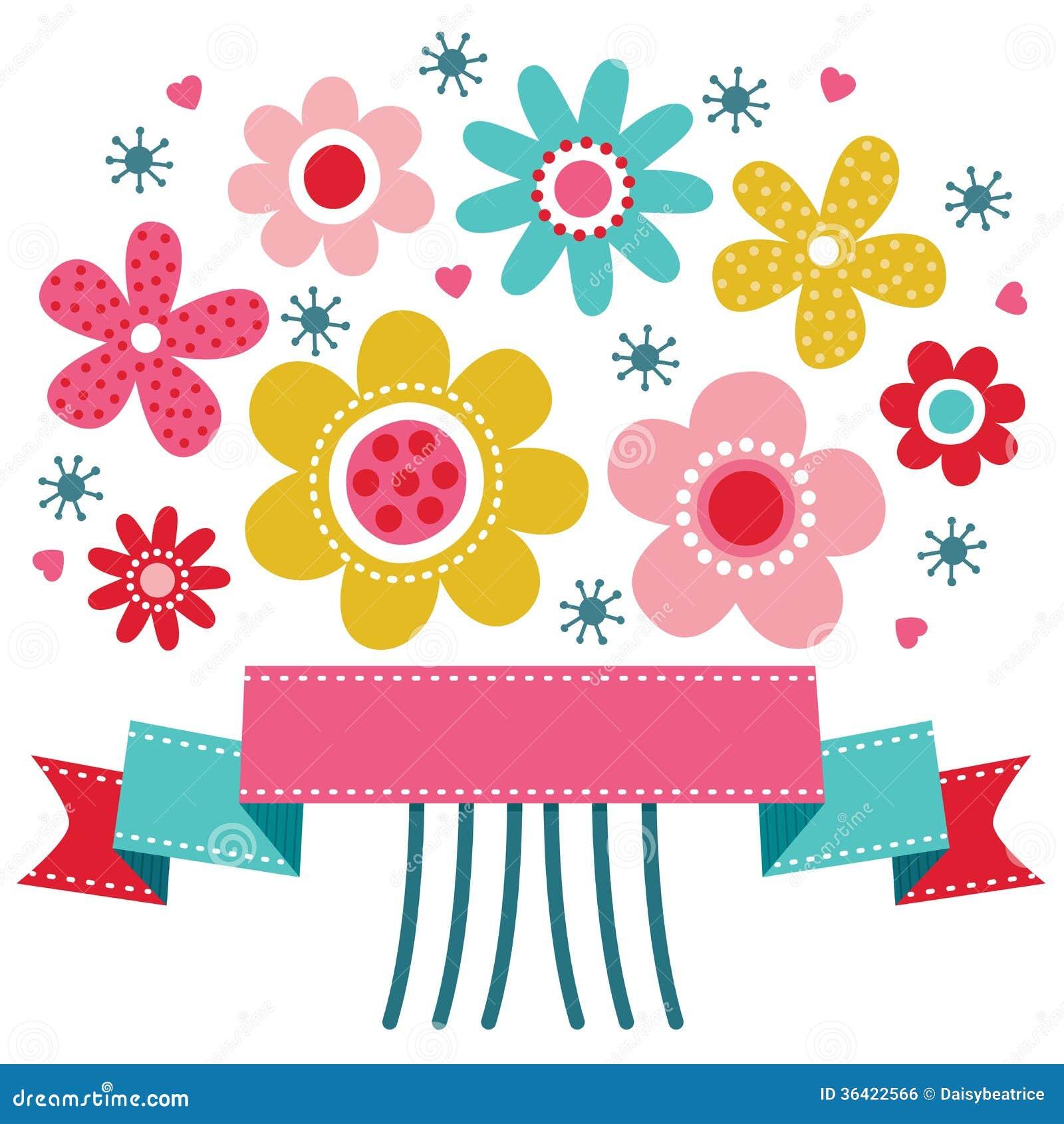 Gulligt blom- hälsningkort