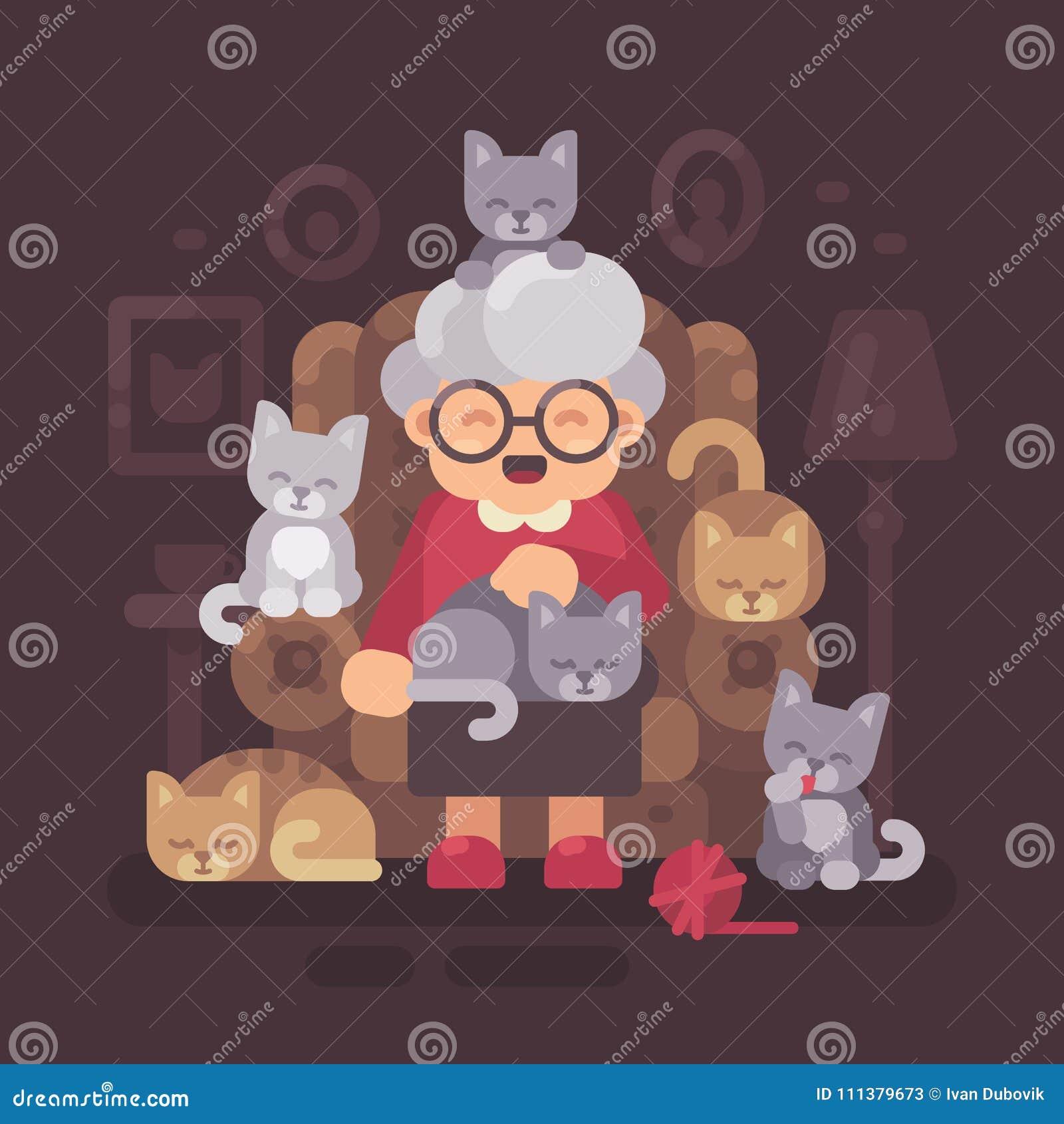 Gulligt farmorsammanträde i fåtölj med hennes katter Gammal kattdam med fem kattungar