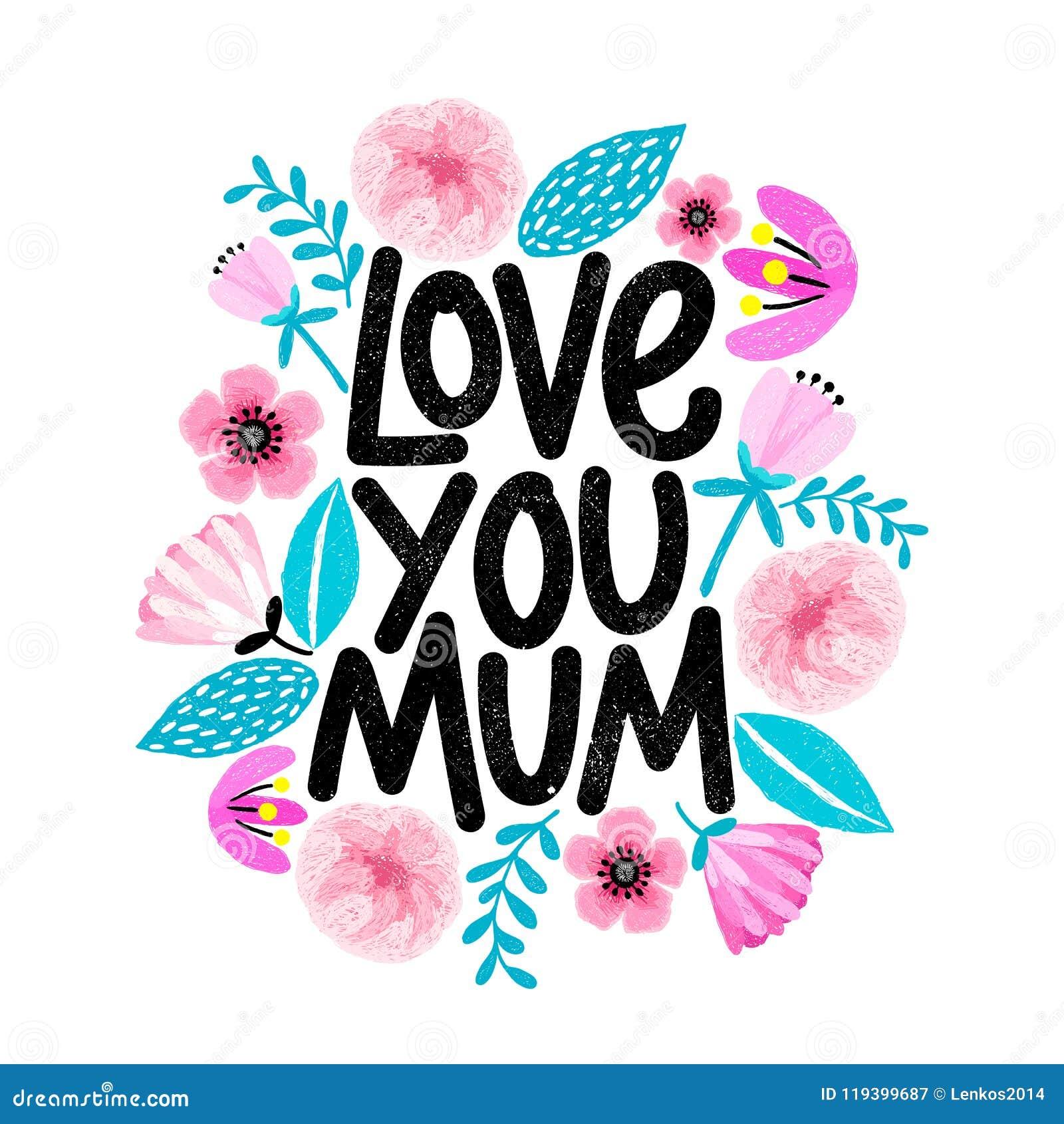 Gulligt kort för dag för moder` s med den blom- ramen i tecknad filmstil Älska dig, Mum Design för bokstäver för Grungetextur mod