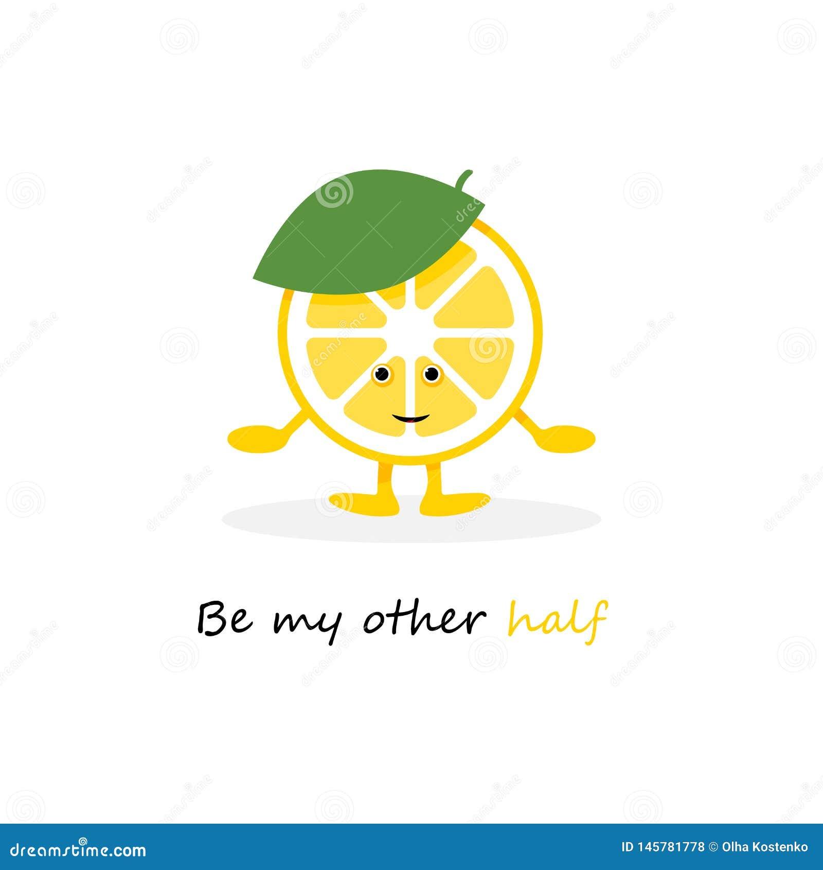 Gulligt leendetecken f?r citron Gult fruktkort f?r tecknad film ocks? vektor f?r coreldrawillustration