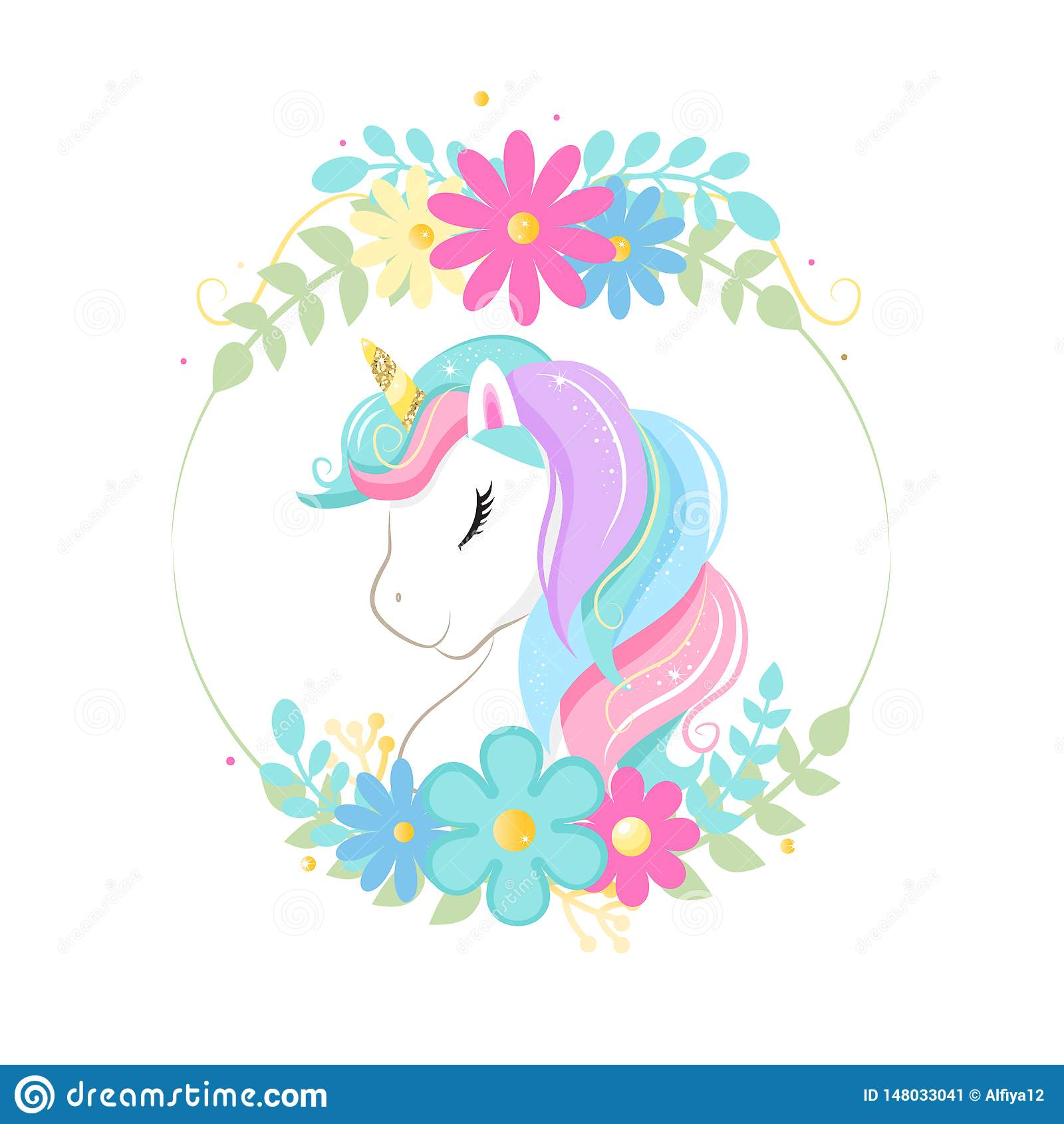 Gulligt magiskt tecknad filmenhörninghuvud med ramen av blommor children illustration