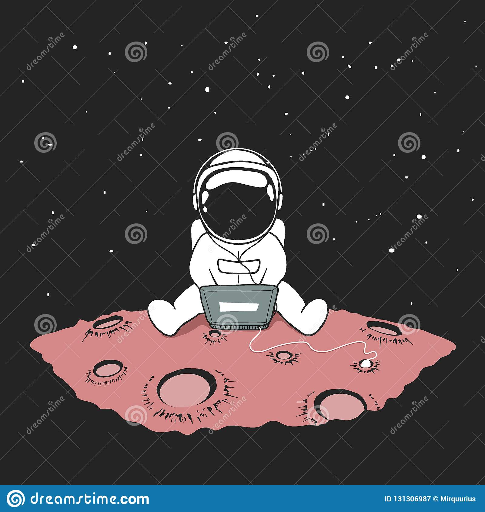 Gulligt sitter en astronaut i internet