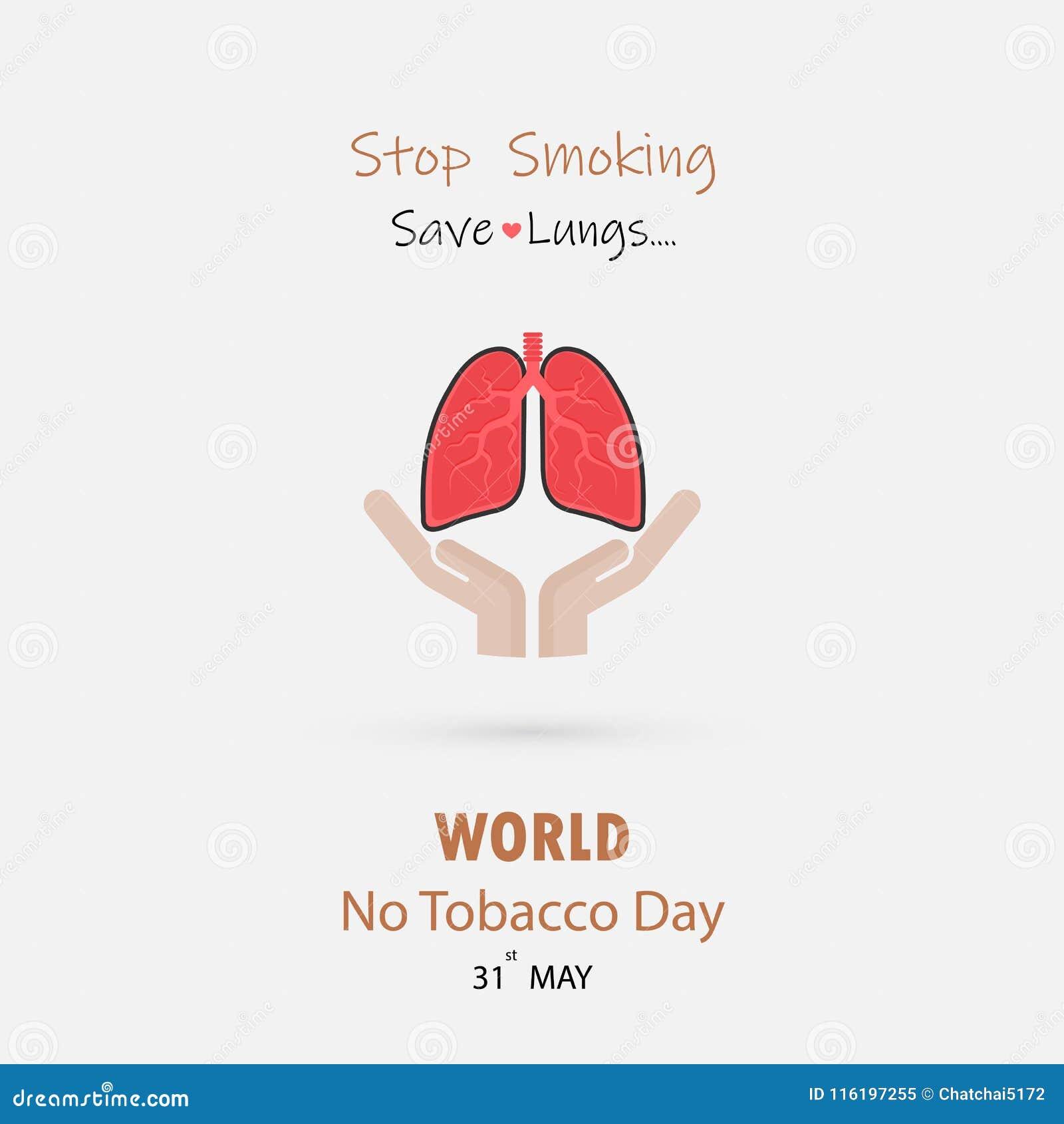 Gulligt tecknad filmtecken för hand och för lunga Stoppa att röka & spara lungor V