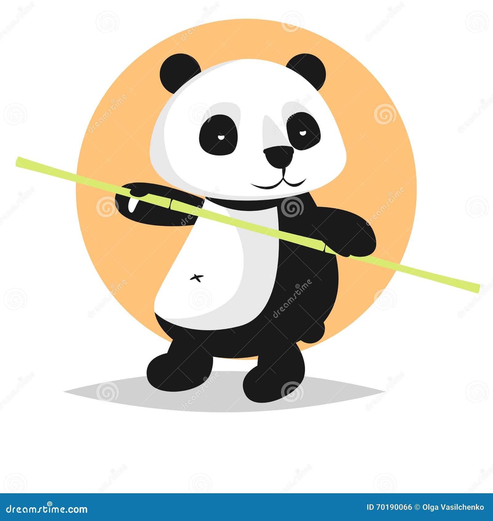Gulligt vektortecken: panda med bambu