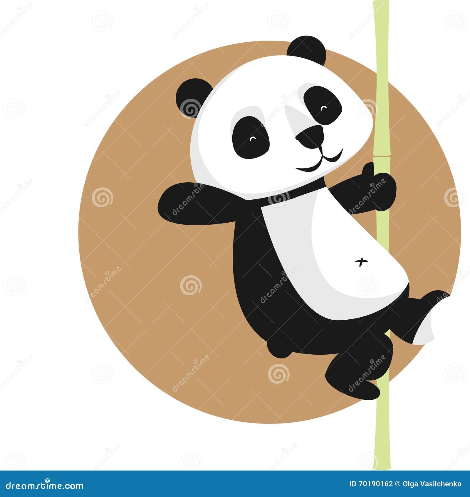 Gulligt vektortecken: panda på bambu