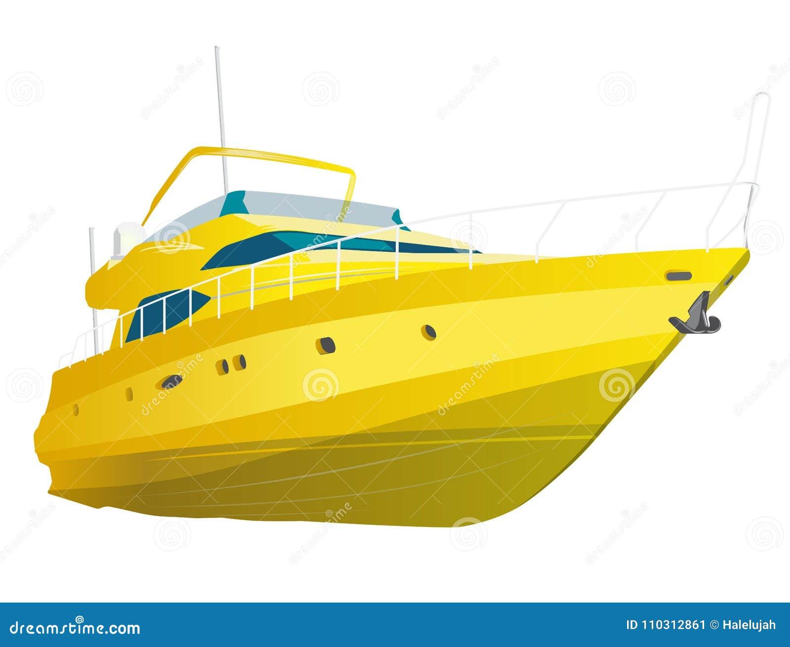Gult motoriskt fartyg Havsyacht för att fiska och fritid Lyxig dyr motorbåt