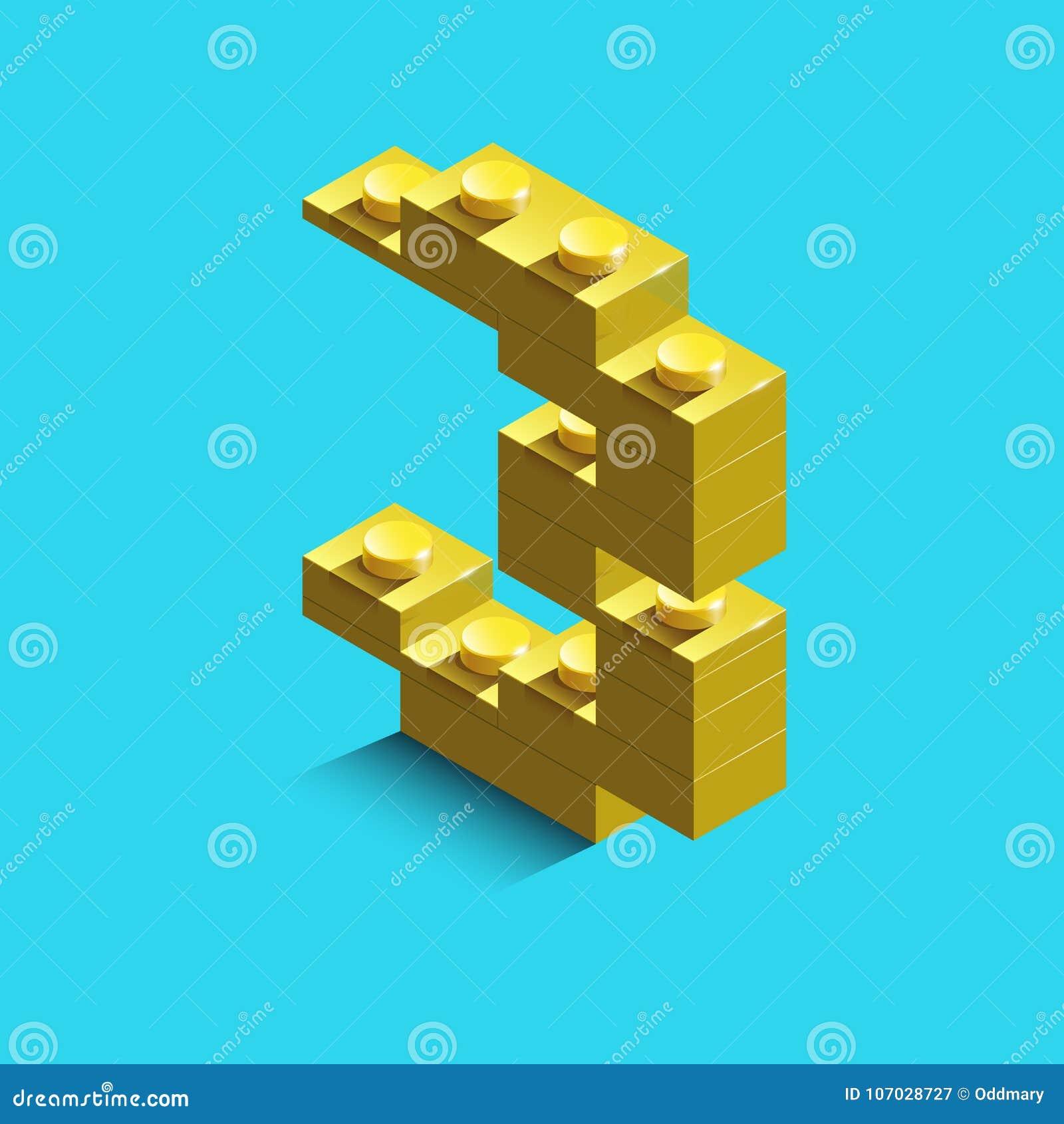 Gult nummer tre från konstruktörlegotegelstenar på blå bakgrund 3d lego nummer tre