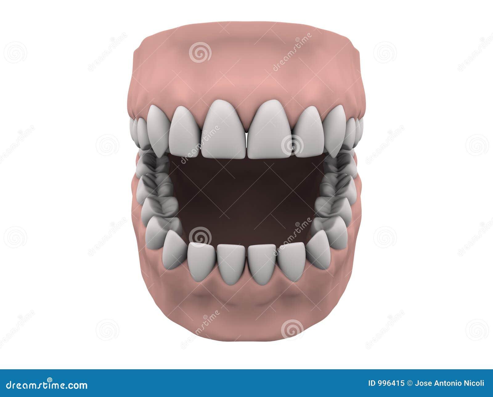 Gummin öppnar tänder
