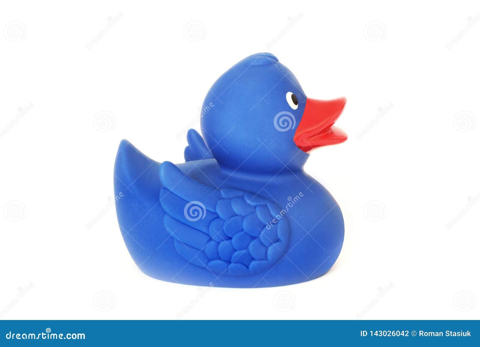 Gumowa kaczka na białym tle Zabawka niebieska kaczka Zabawka dla łazienki
